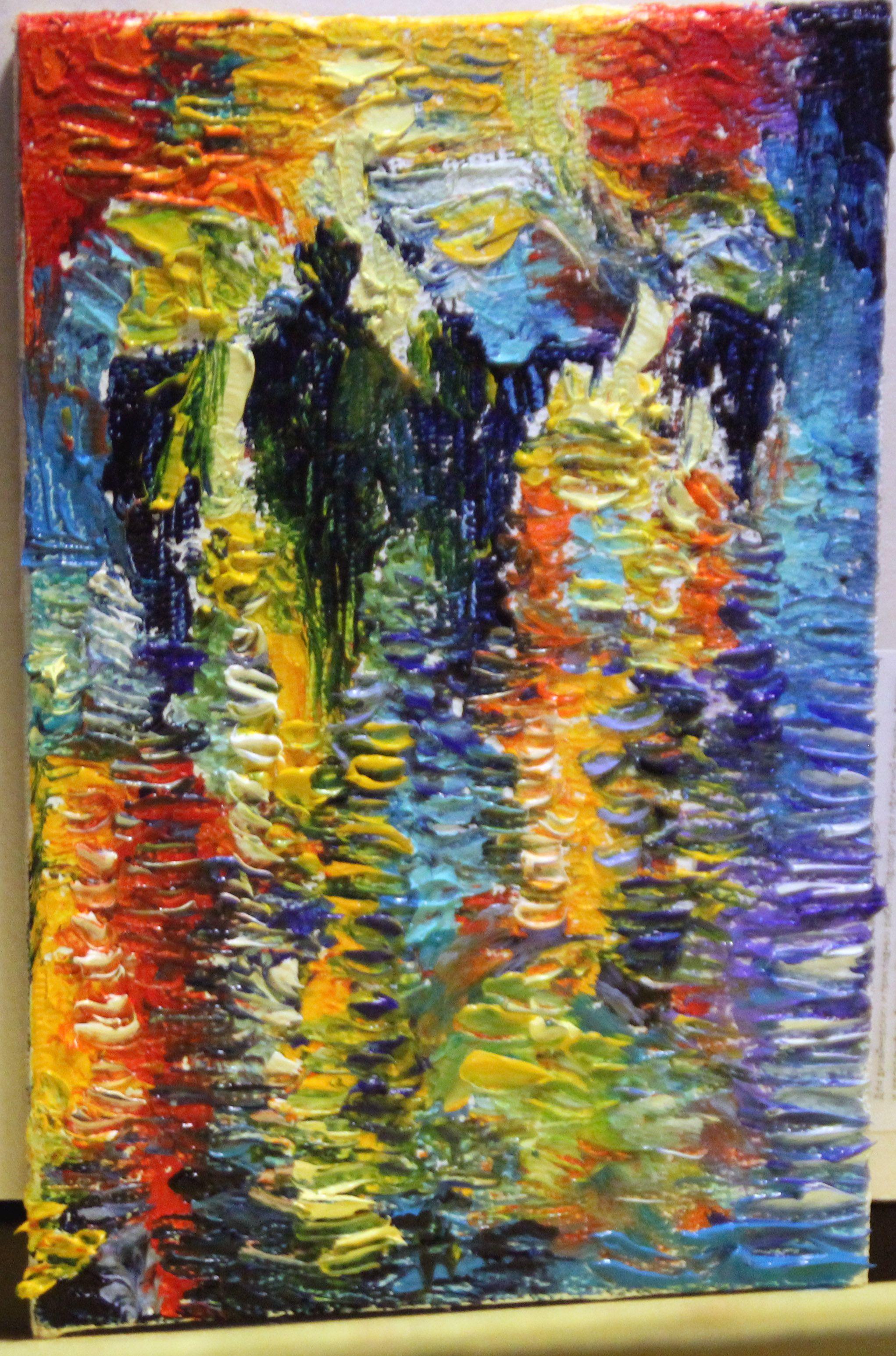 холст парк ночь город абстракция осень масло мастихин живопись пейзаж