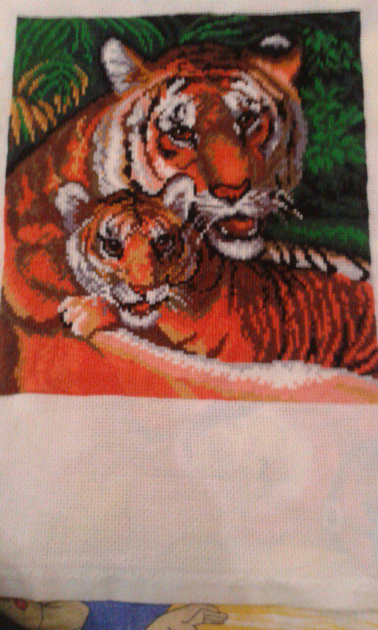 картина вышивка кошки животные дикие мулине тигры крестики