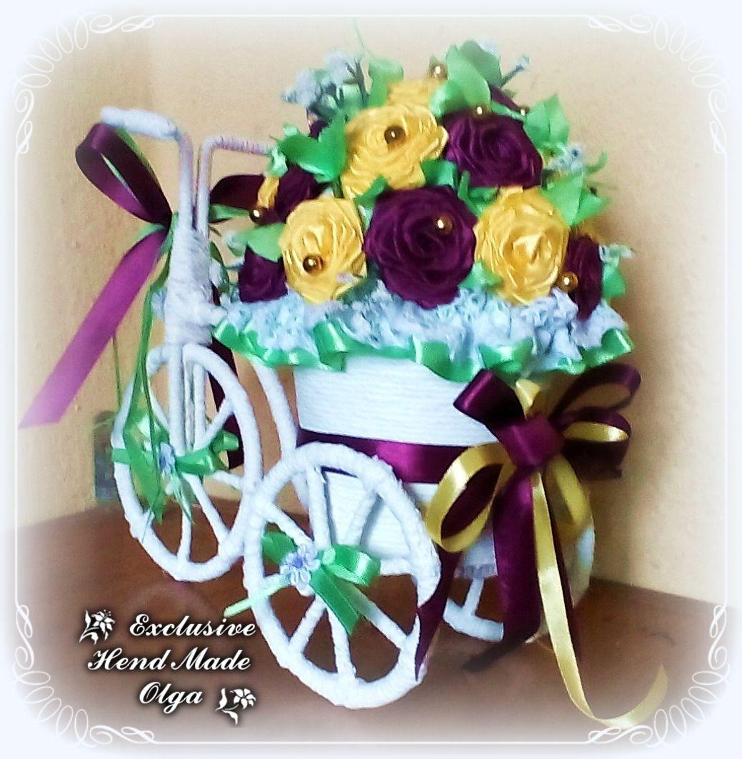 велосипед цветы подарок лента