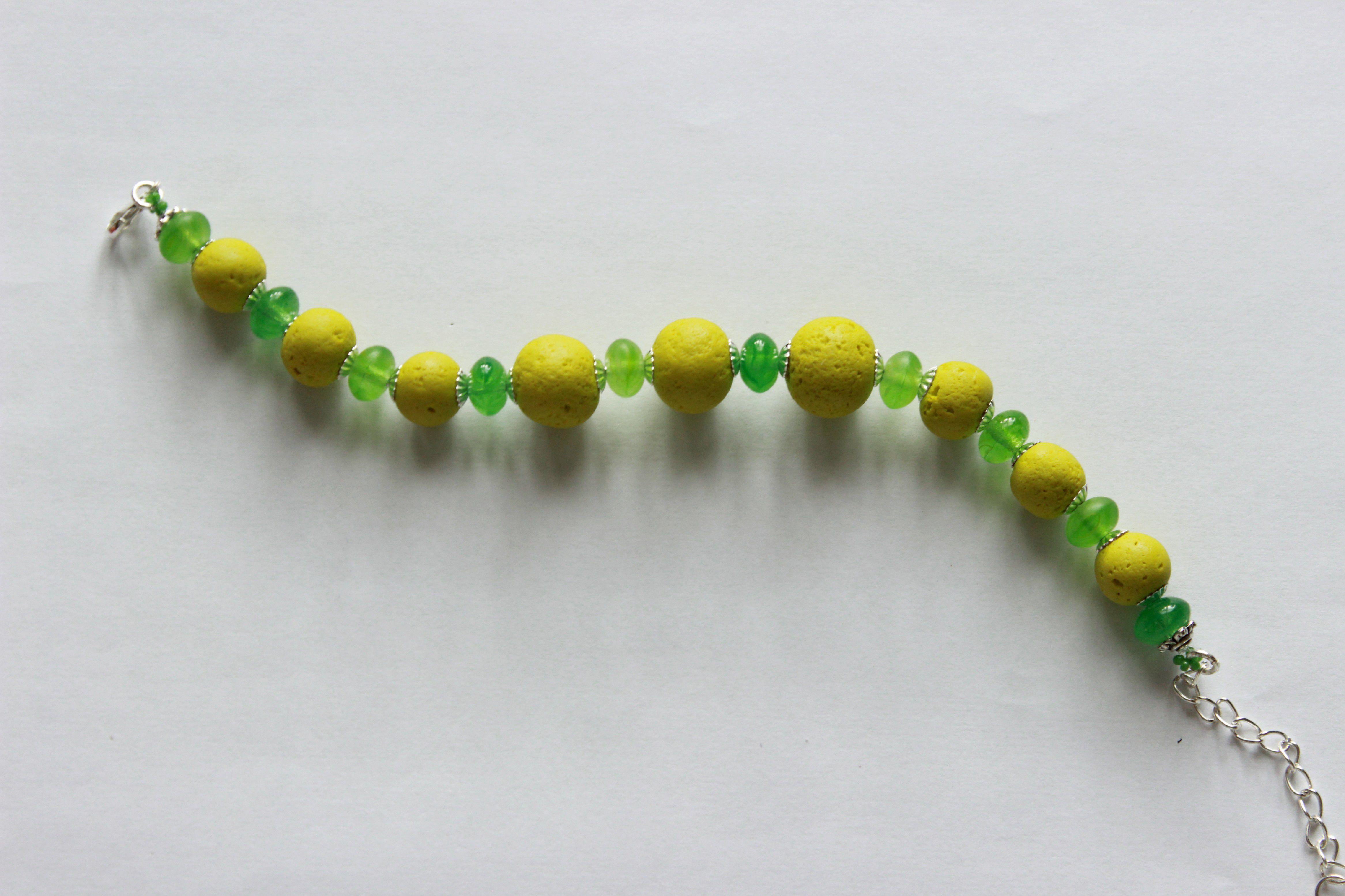 глина зеленый браслет бусины лето украшения стекло бижутерия