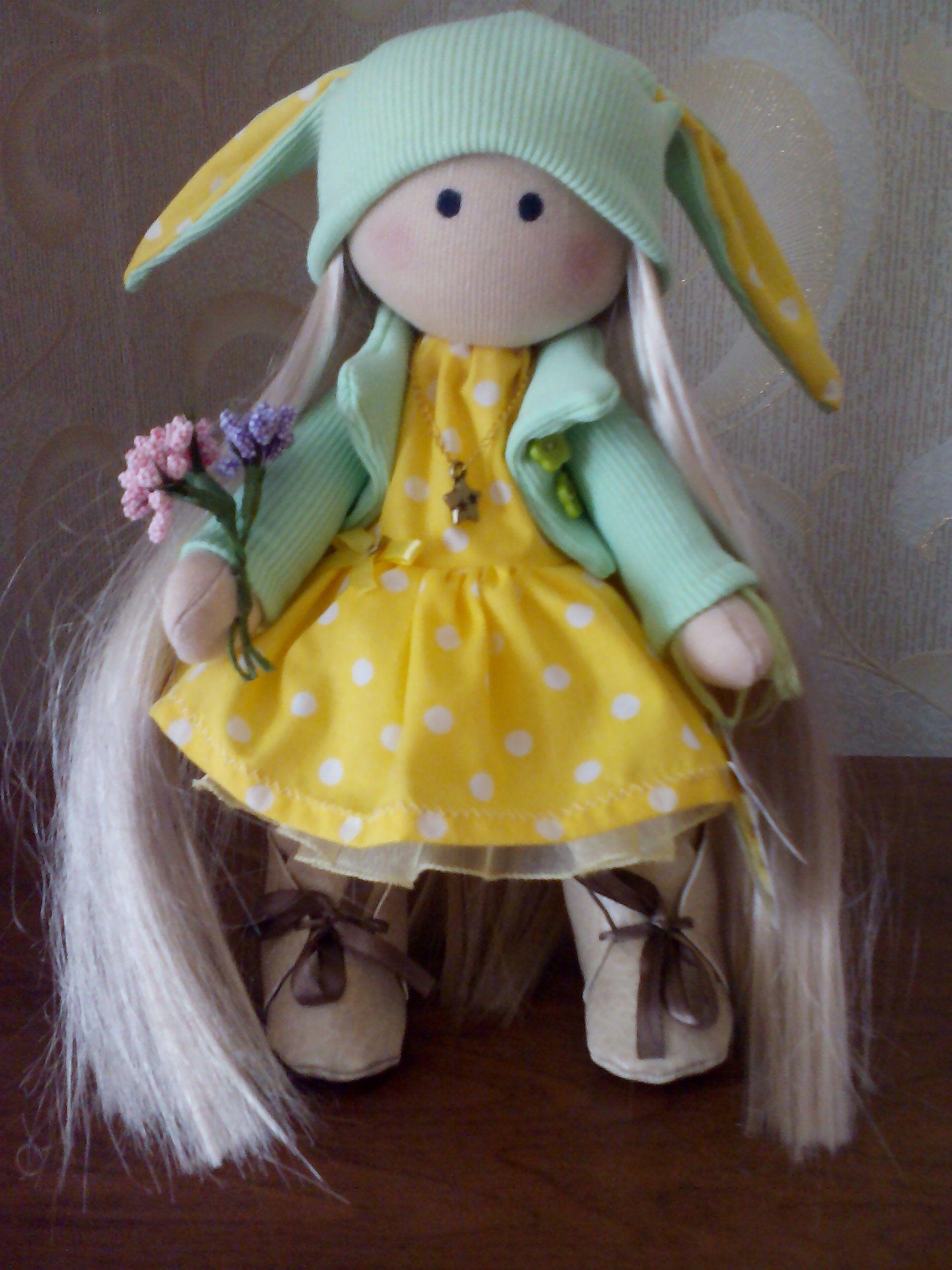 подарок.детям.жёлтый. работа. кукла. ручная
