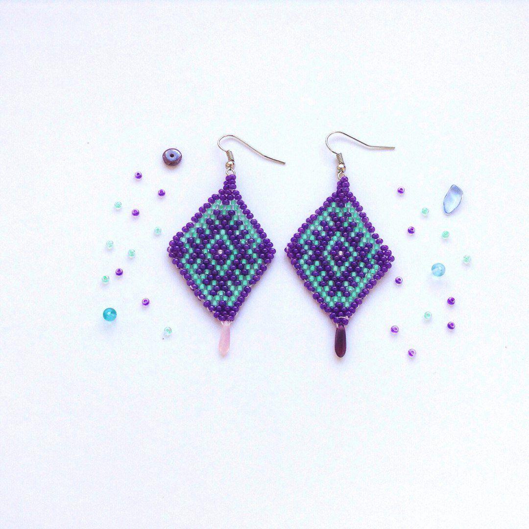 бисер серьги плетеные handmade фиолетовый украшения бижутерия
