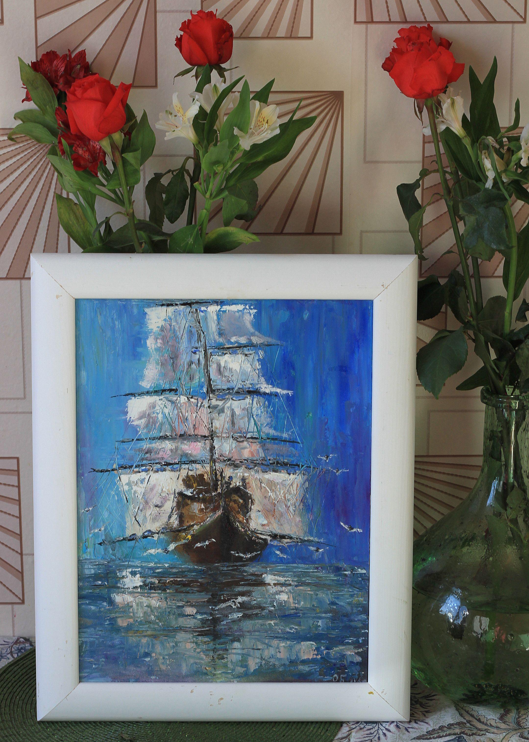 масло фрегат корабль море картина мастихин