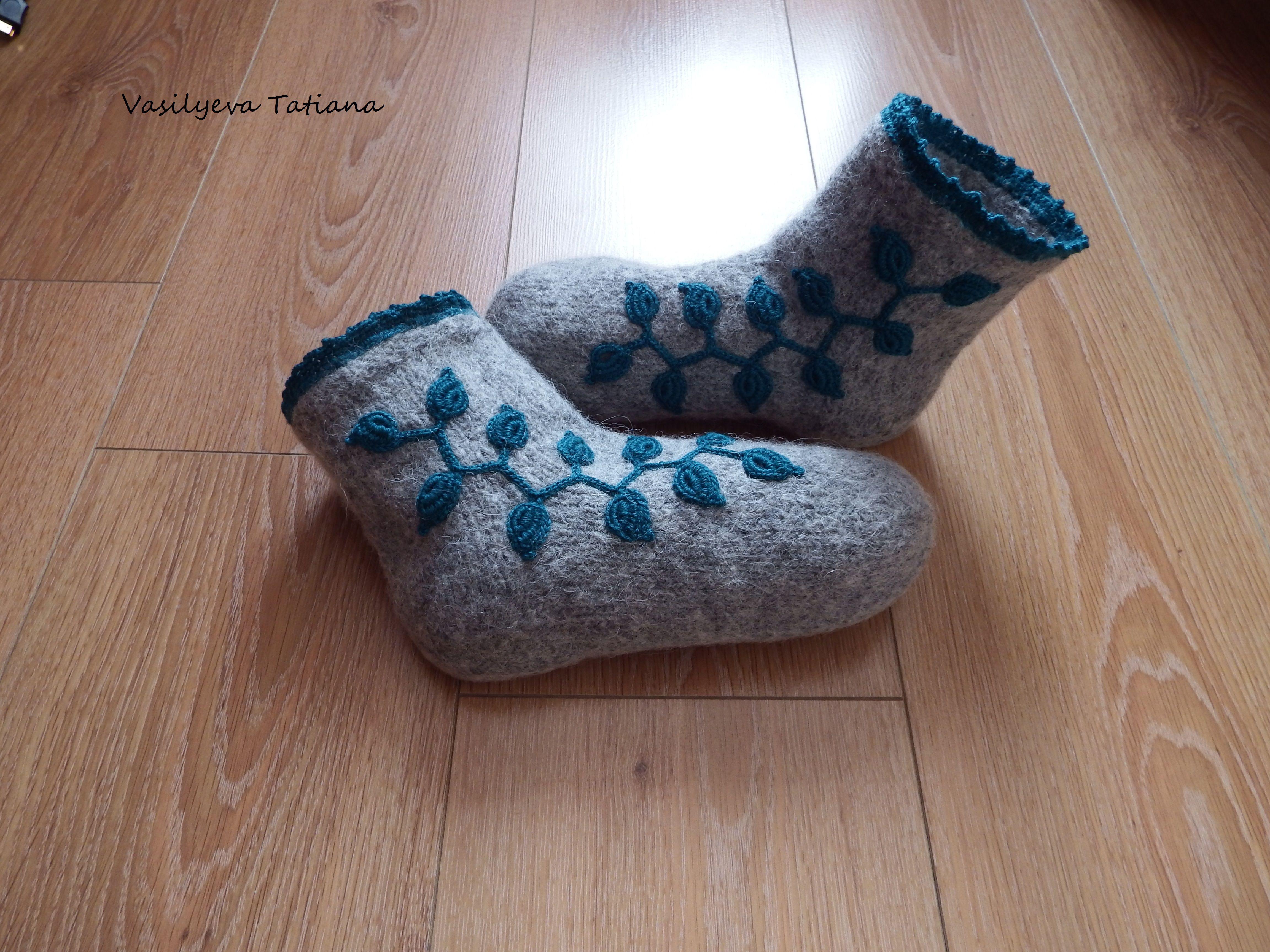 сапожки домашняя обувь валяные вязаные