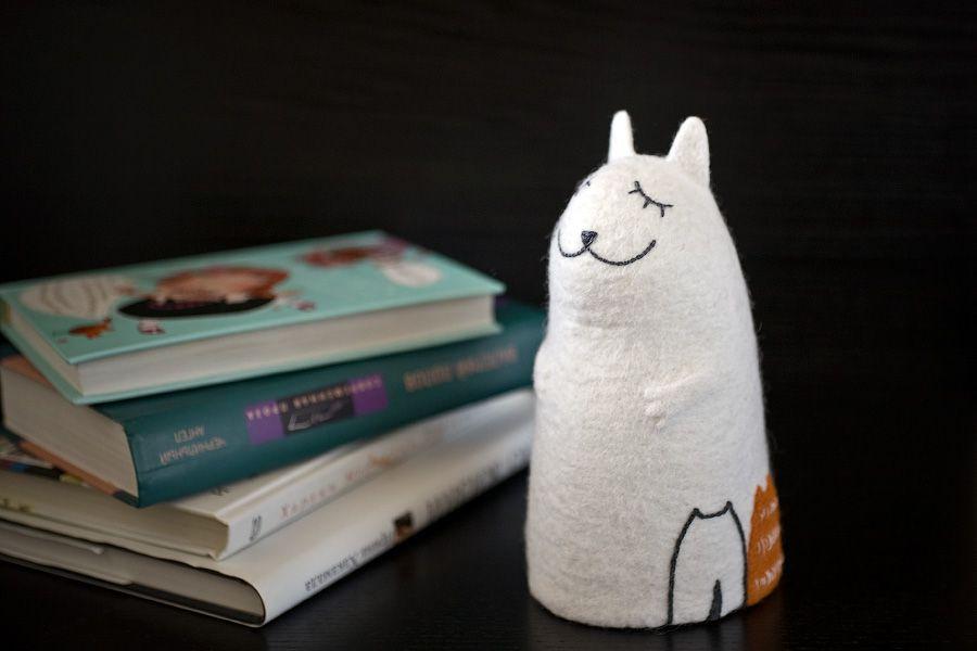 войлочный котята войлок интерьер ночник светильник кошка белый рыжий кот