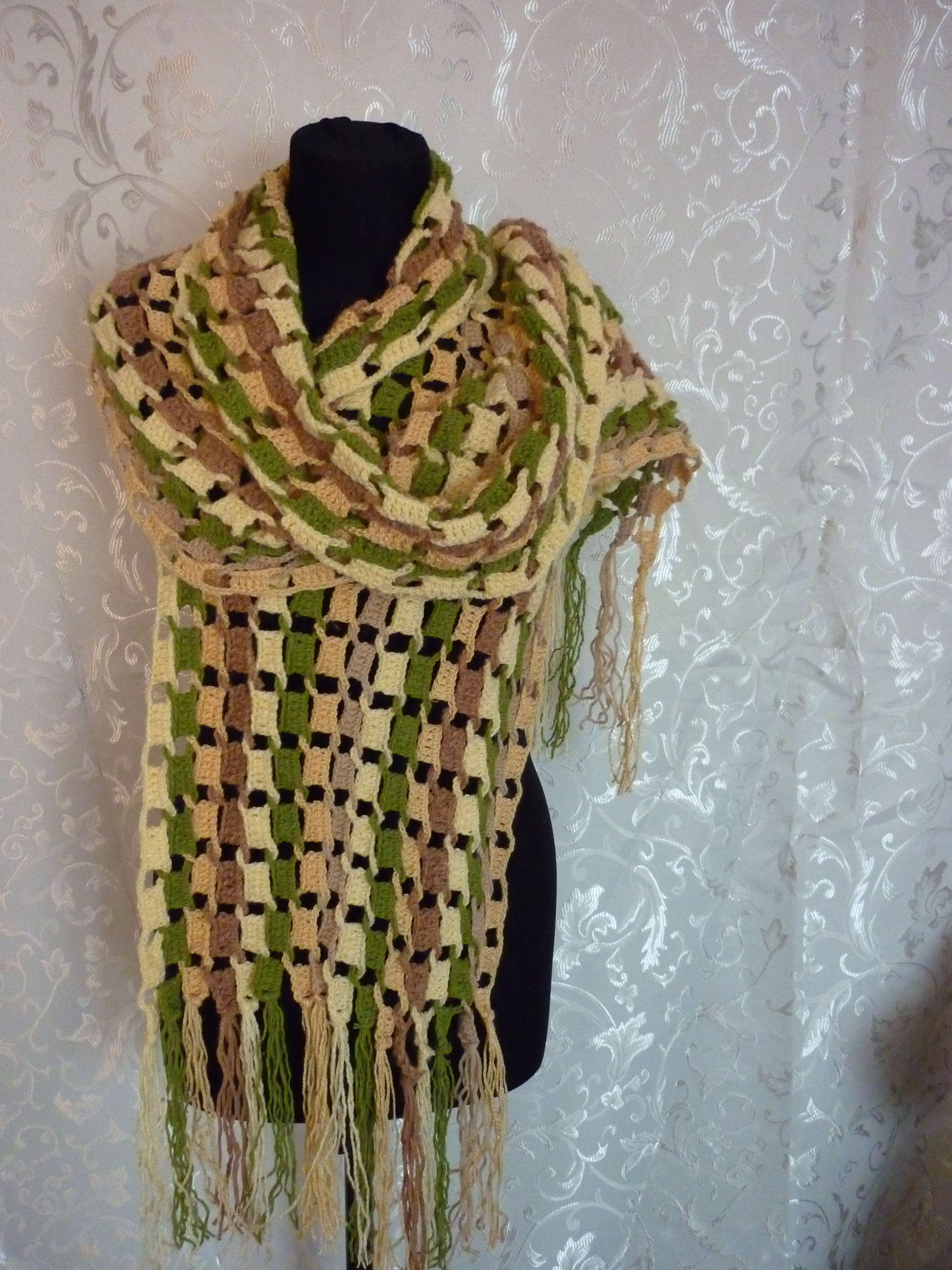 вязание шарф крючком