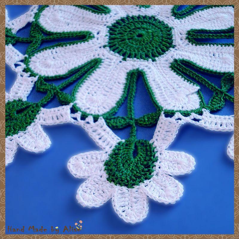 дома маргаритка 100 хлопок салфетка вязание для интерьер белый крючком зеленый уют