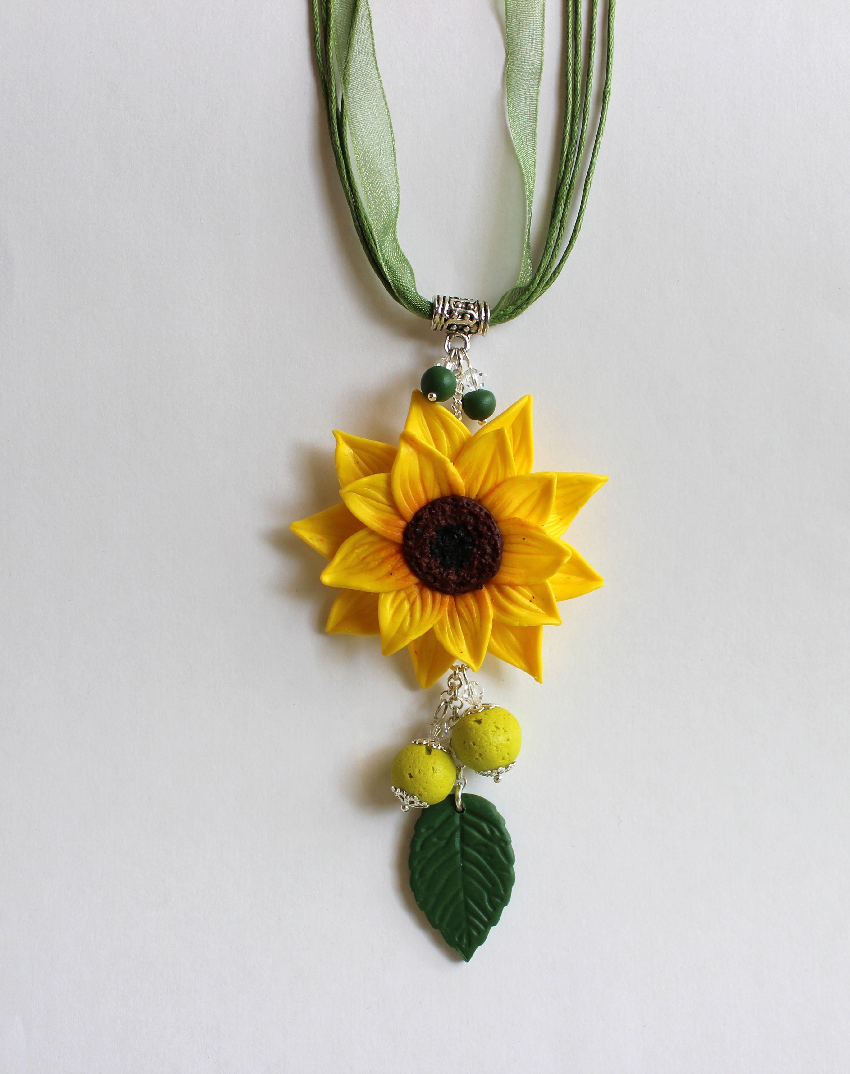 подсолнух украшения подвеска желтый бижутерия кулон зеленый яркий цветок лето