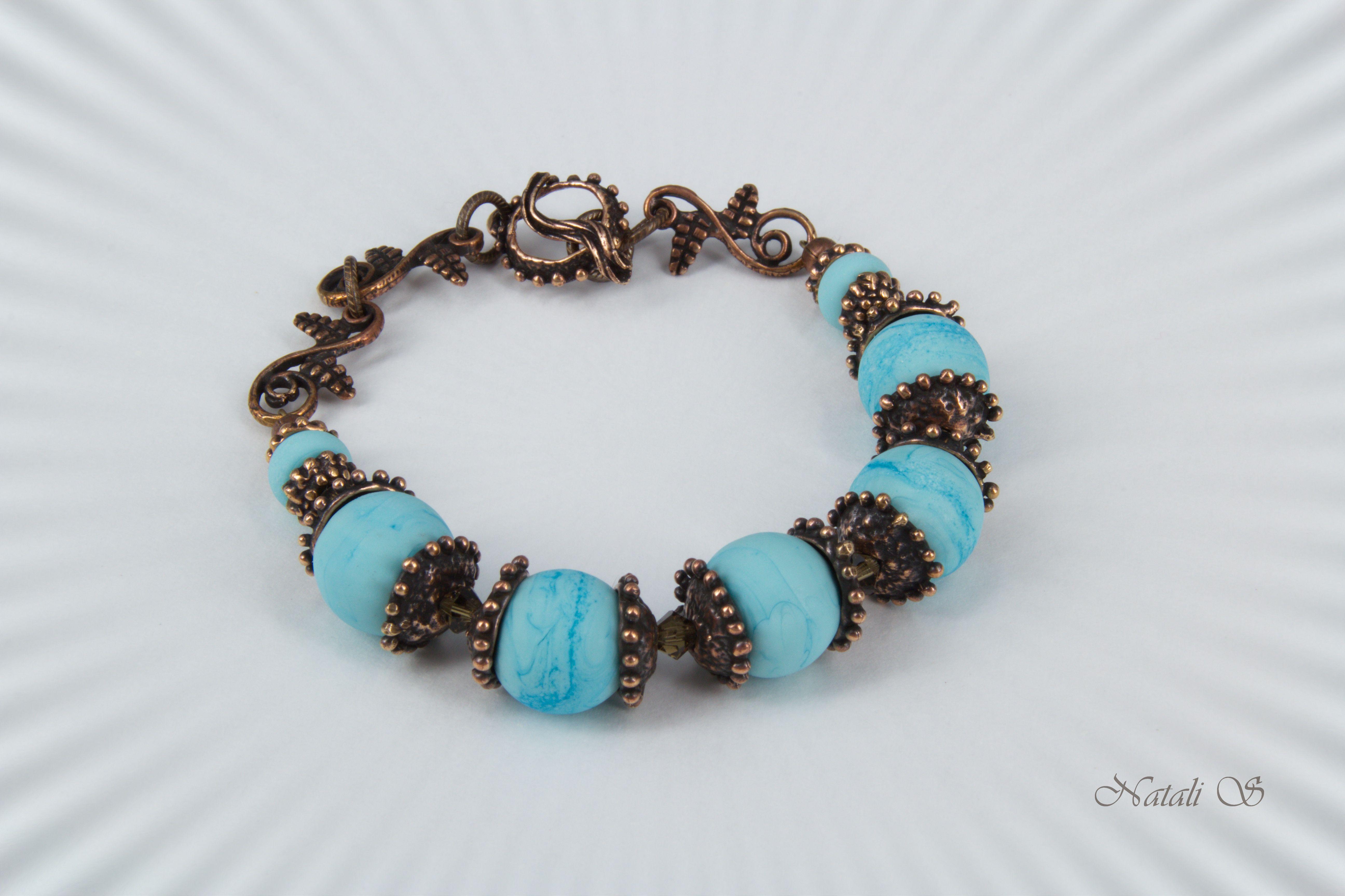 авторская медная браслет жемчуг бусины украшение авторской речной фурнитура подарок лэмпворк