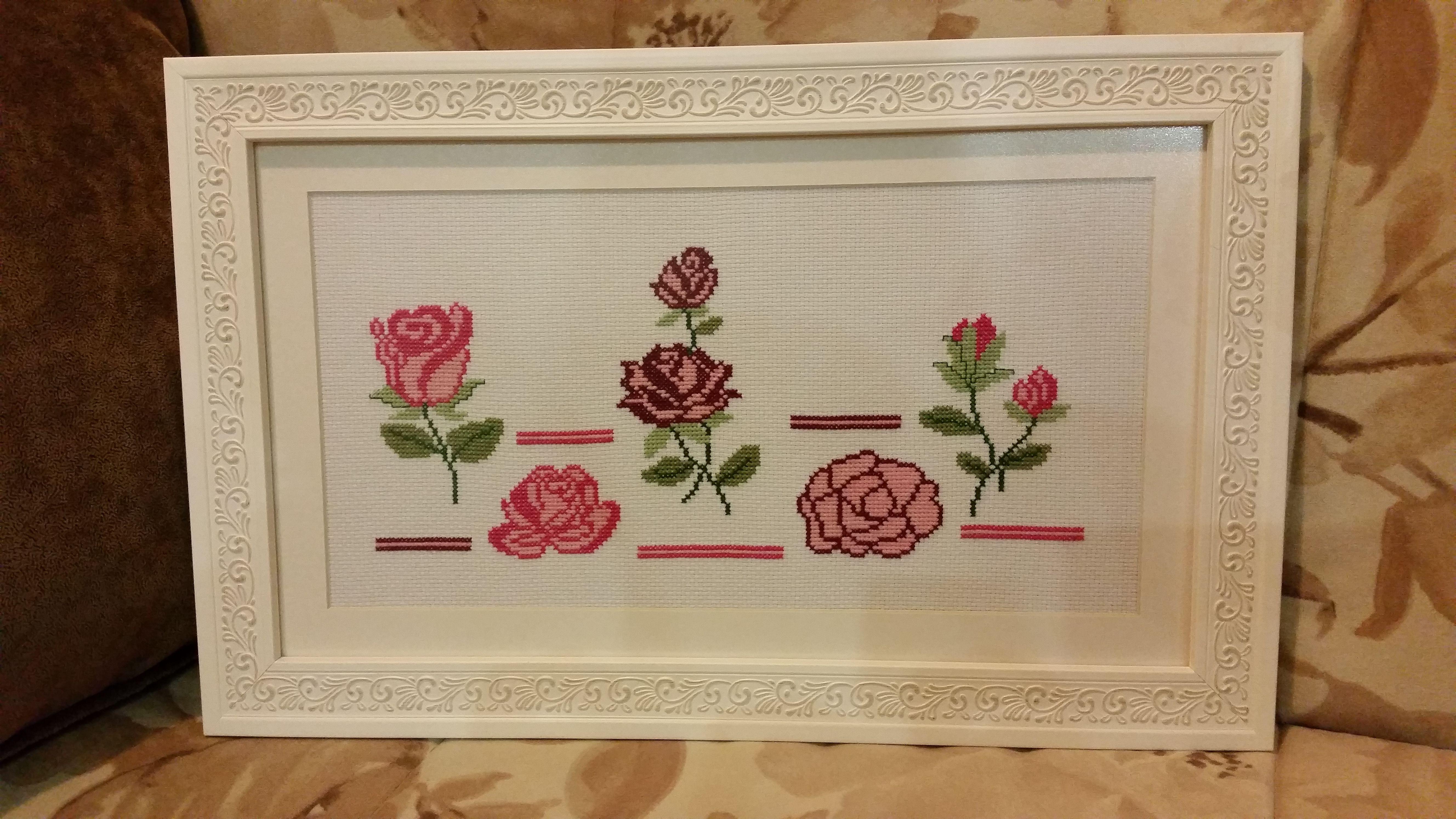 вышивка розы картина