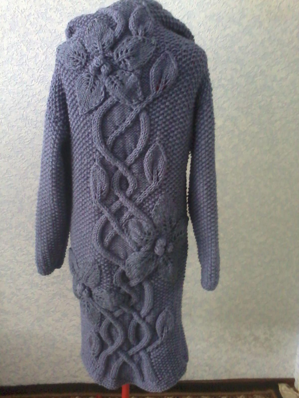 купить спицами вязаное пальто цветами