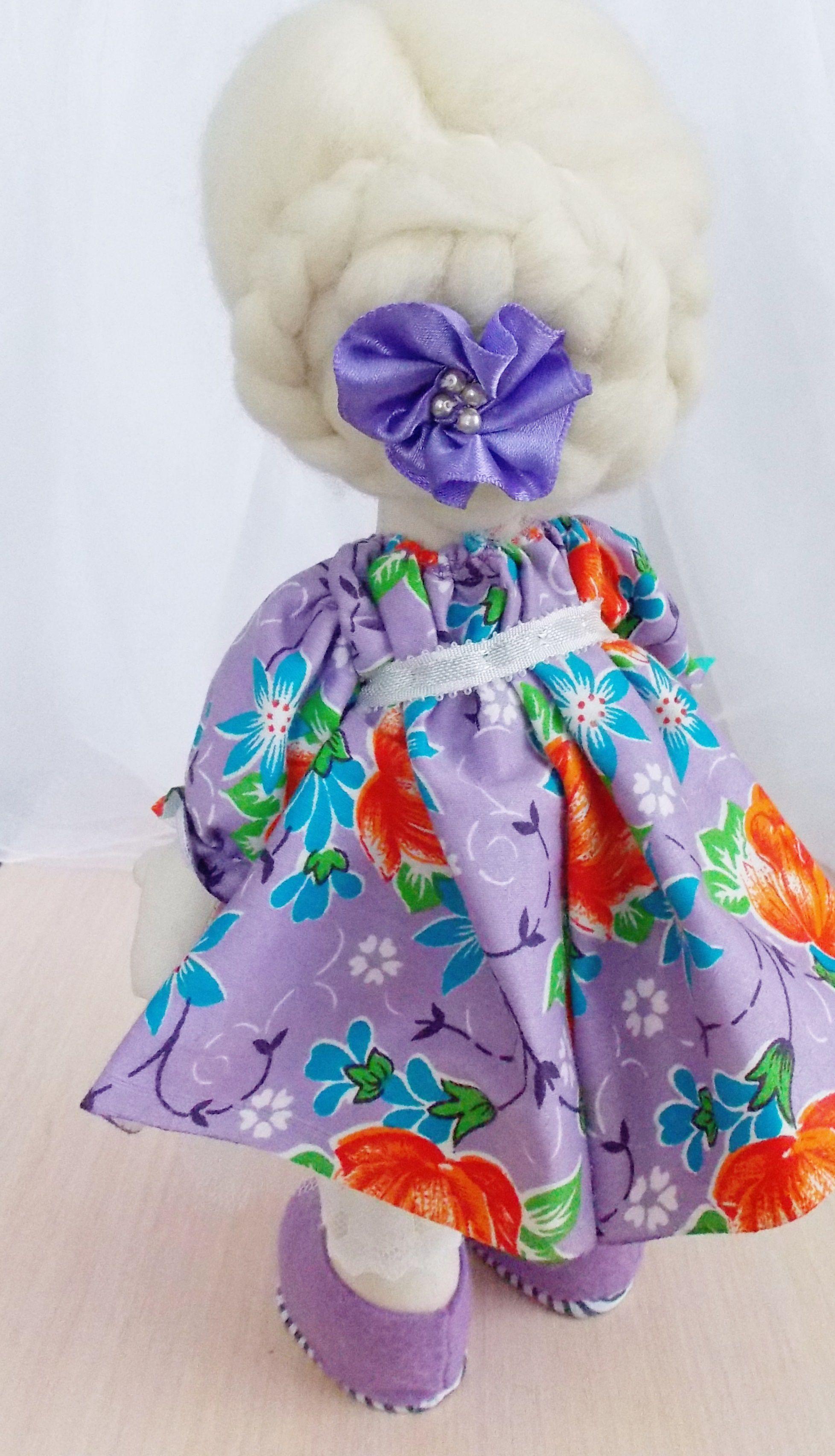 интерьерная игрушка кукла сиреневый большеножка блондинка подарок текстильная девочке