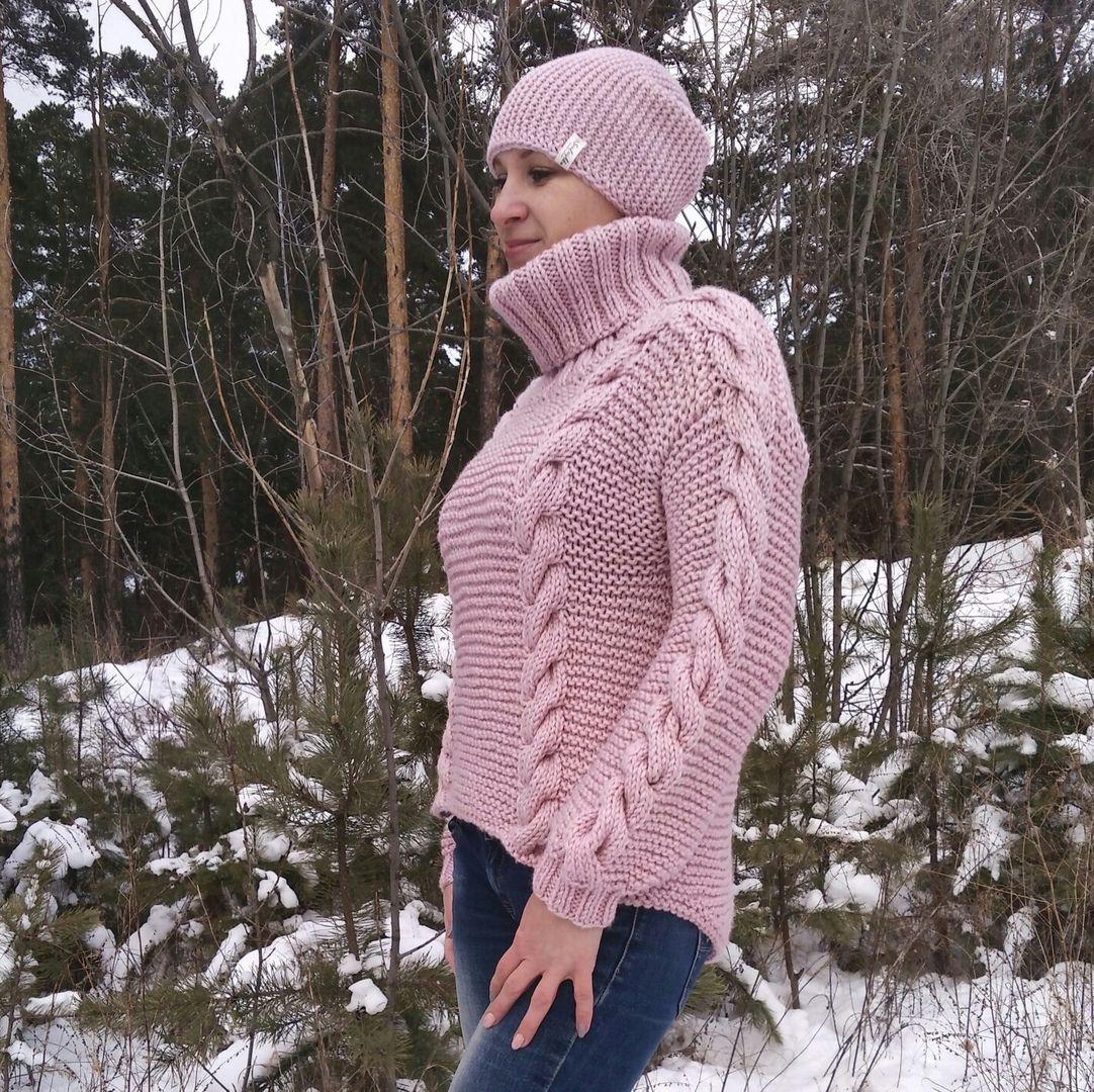 вязание ручнаяработа пудровыйсвитер свтиреоверсайз вязанныйсвитер теплыйсвитер оверсайз свитер