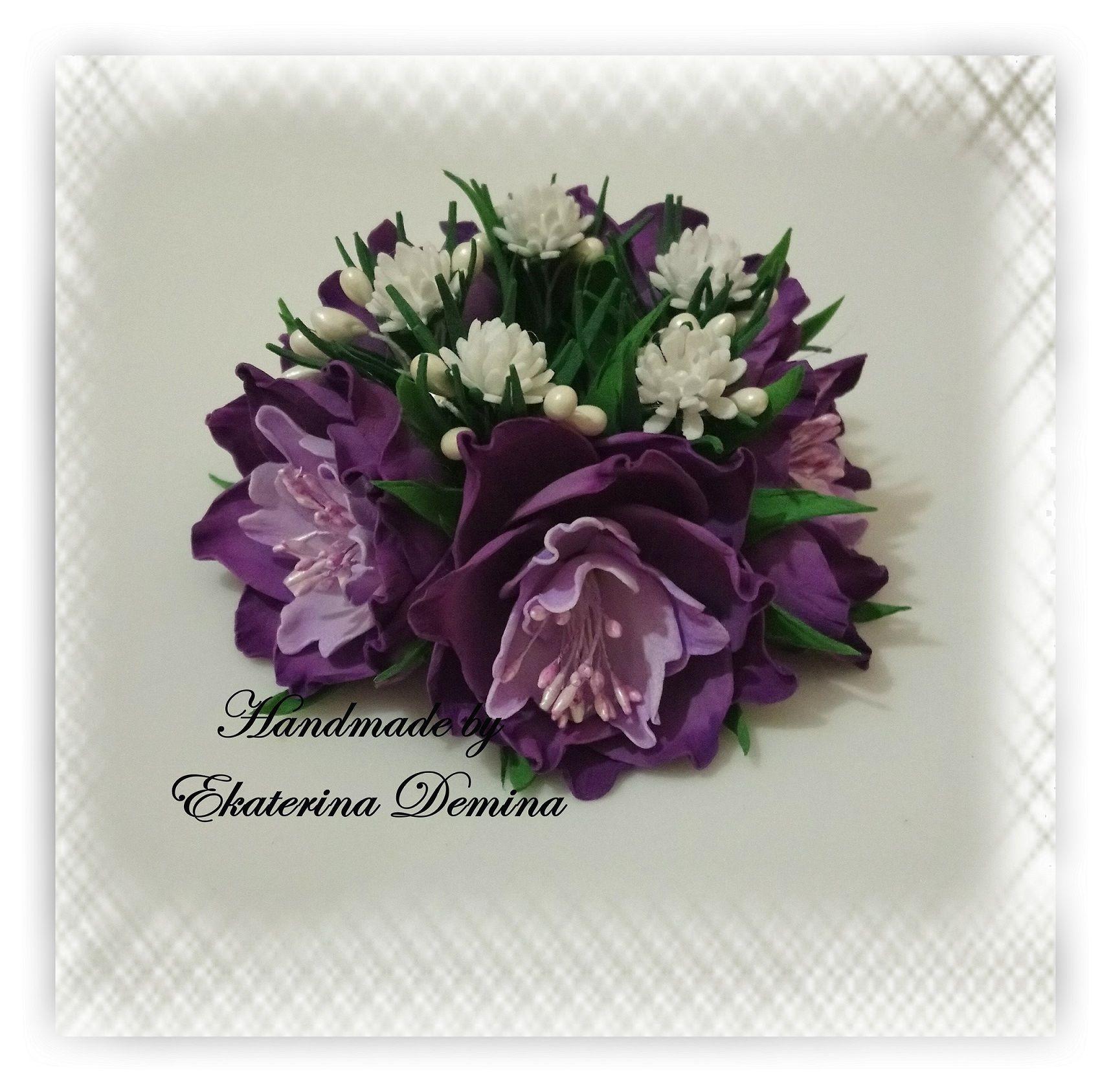 аксессуар фоамиран цветок заколка резинка