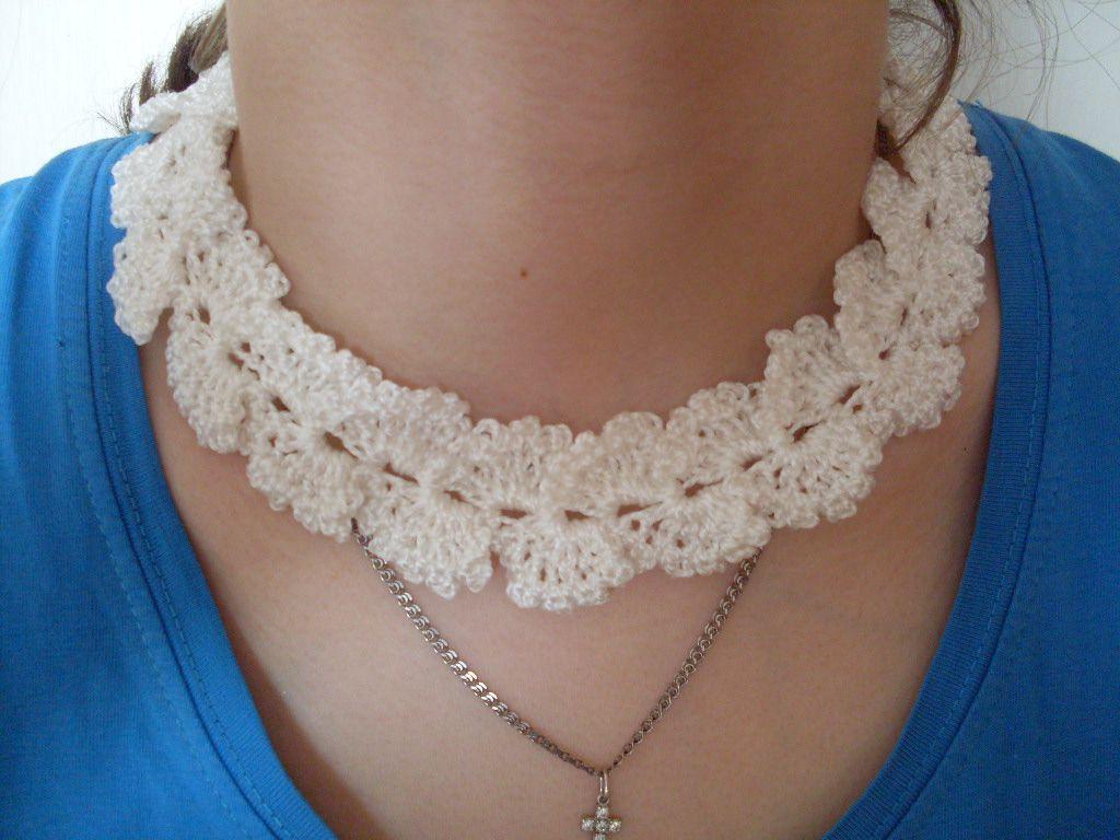 колье ожерелье на украшение шею вязаное белое ручной работы крючком