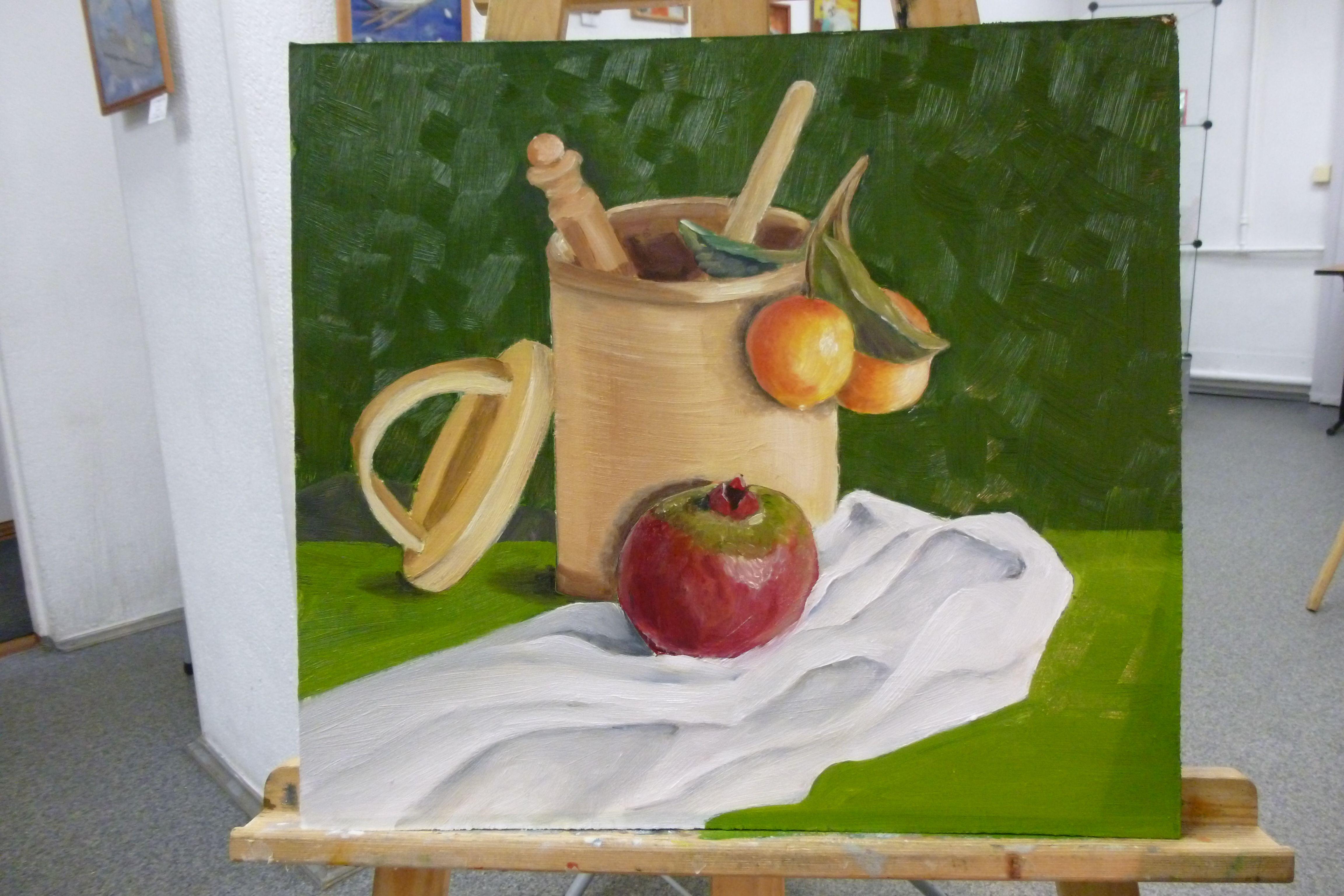 зеленый туесок картинамаслом гранат яркий береста фрукты натюрморт