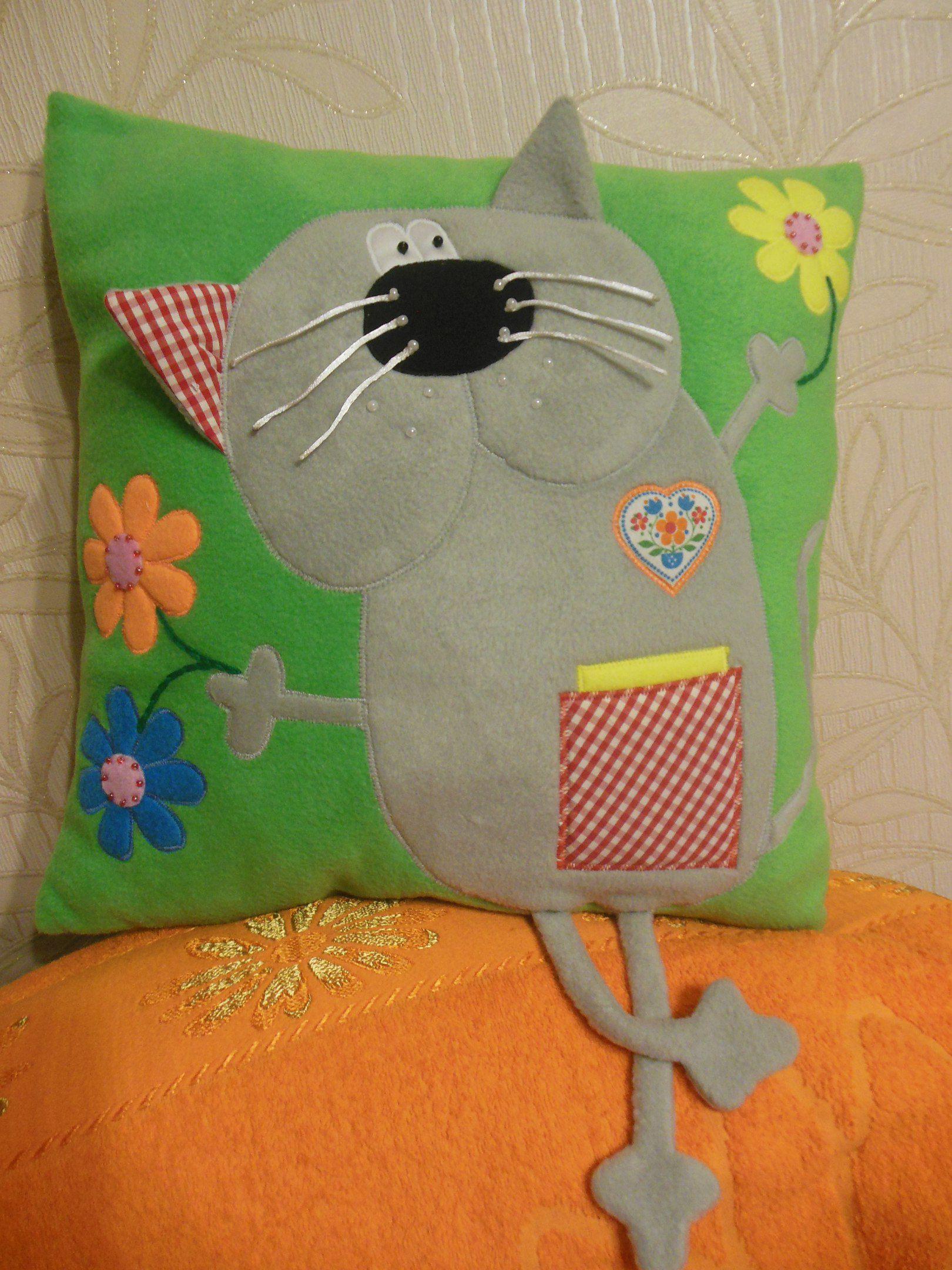 ручнаяработа подушка подарок аппликация кот