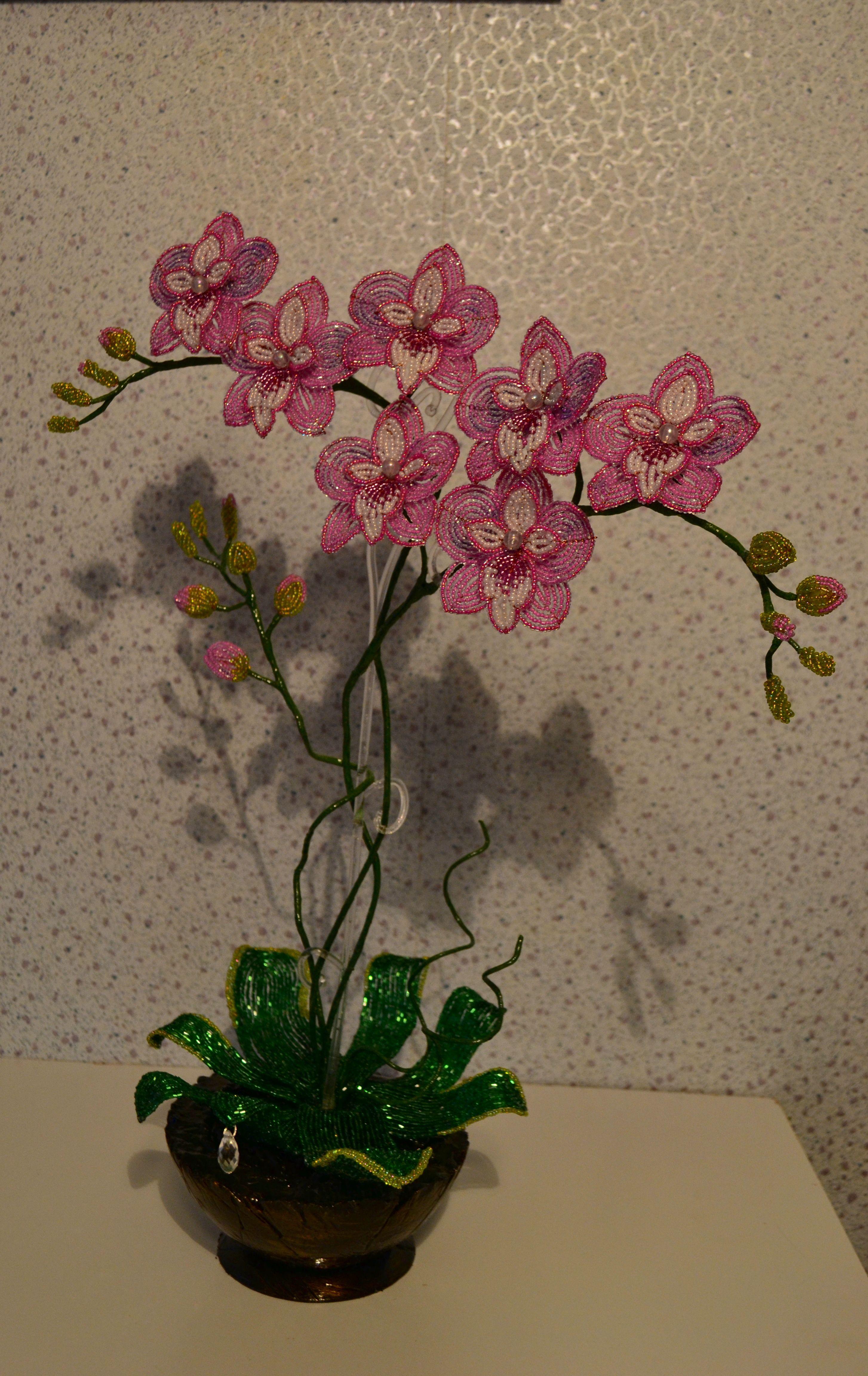 8марта бисер букет сувенир орхидея весна подарок цветы