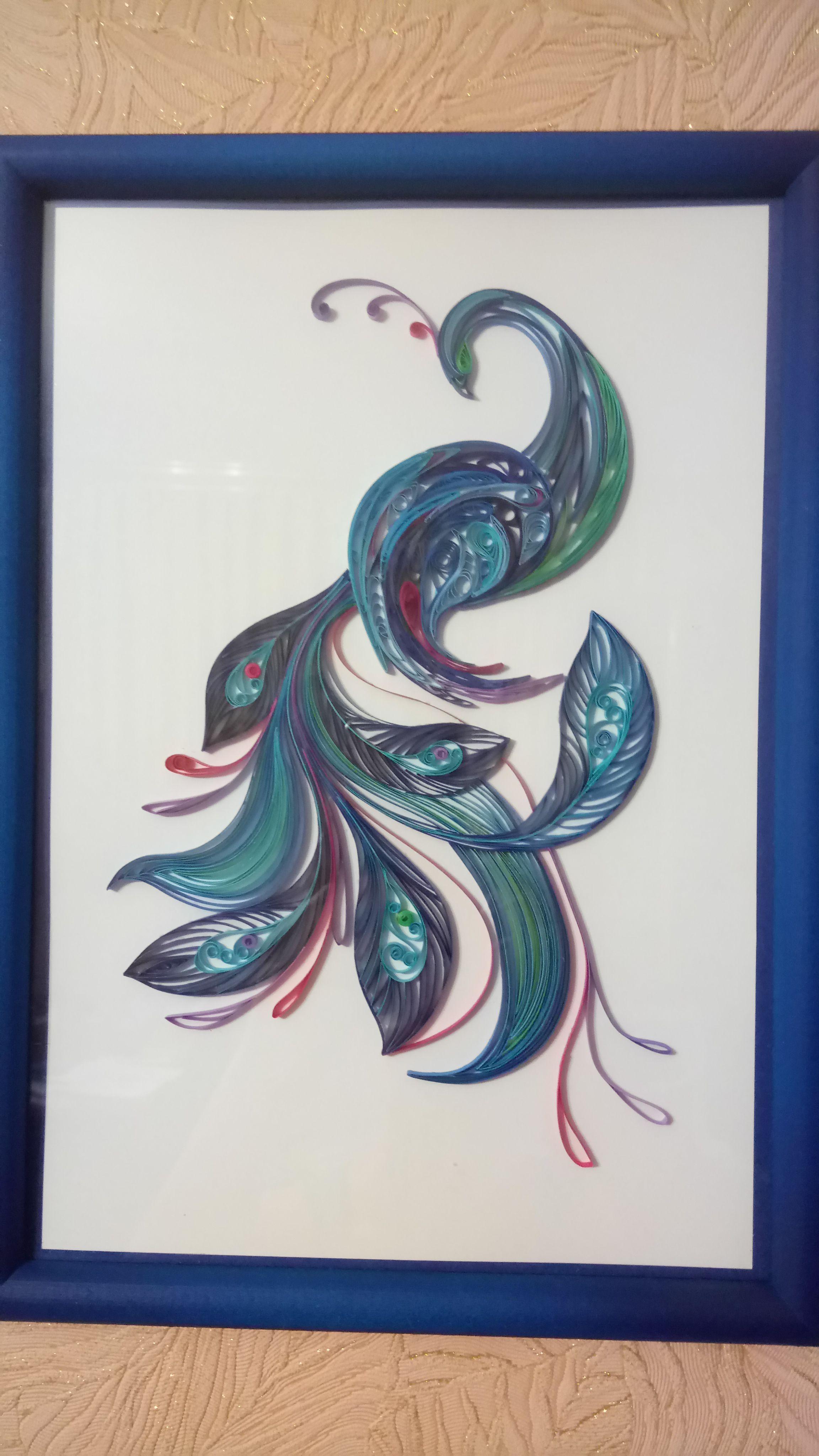 птица красота квиллинг картина подарок