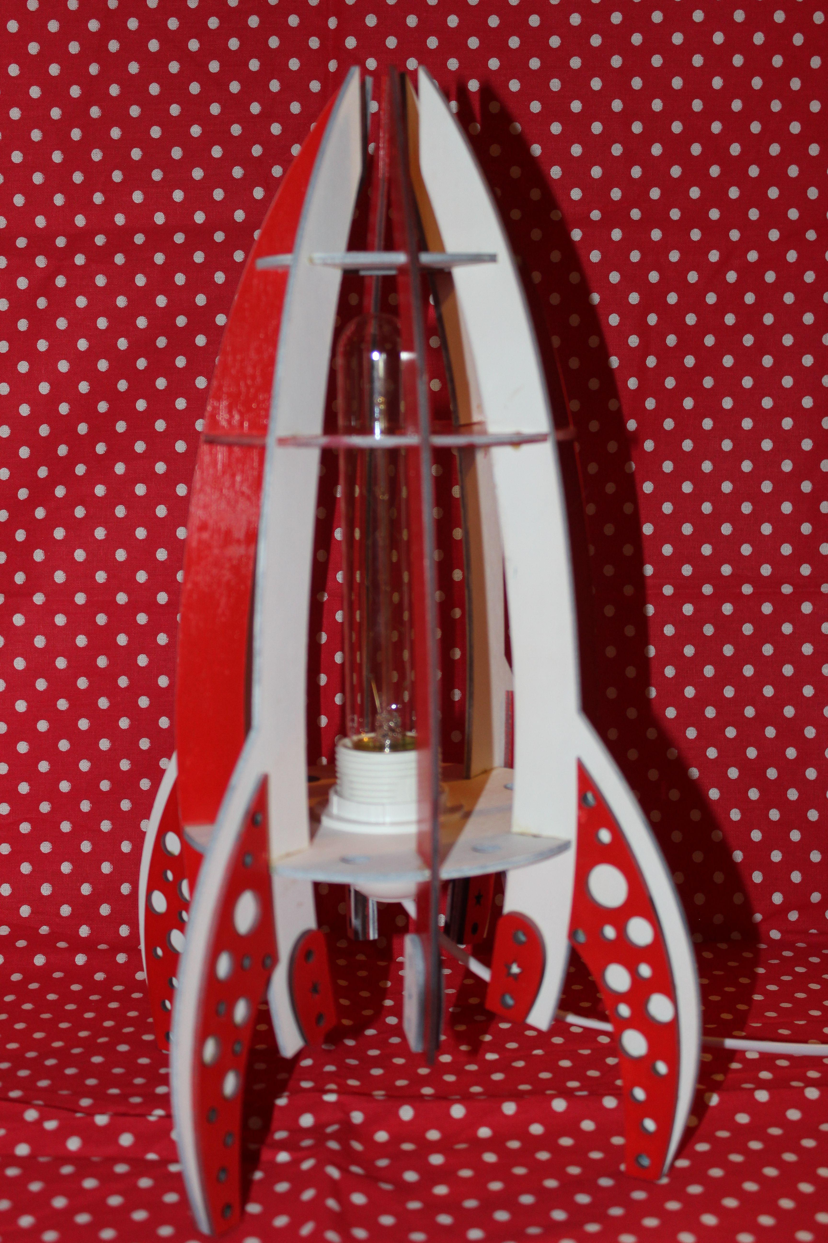 настольная ракета космос светильник ночник лампа фанера