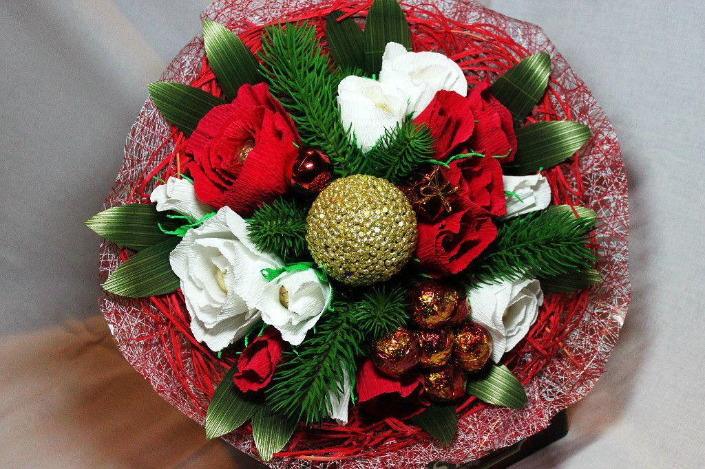 Оформление букет на новый год из конфетки, купить цветы маки
