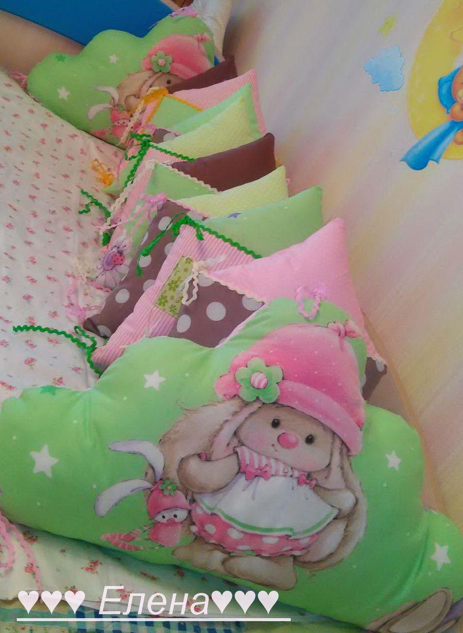 в кроватку детям бортики домики
