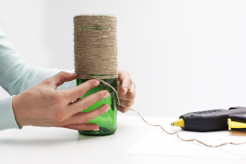 стеклянной декора бутылки ваза для из стильная нитки руками своими