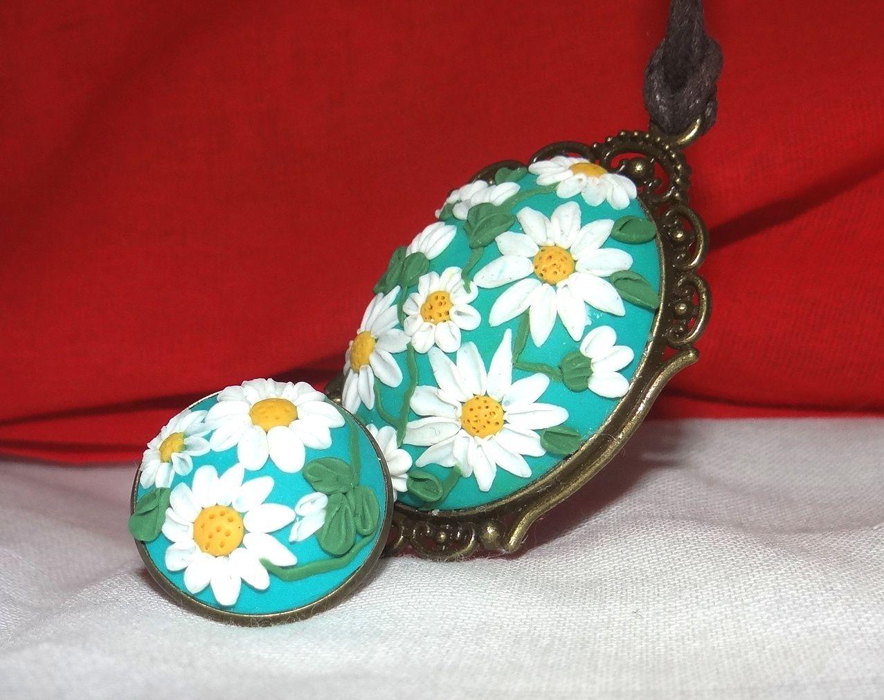 ромашки кольцо кулон
