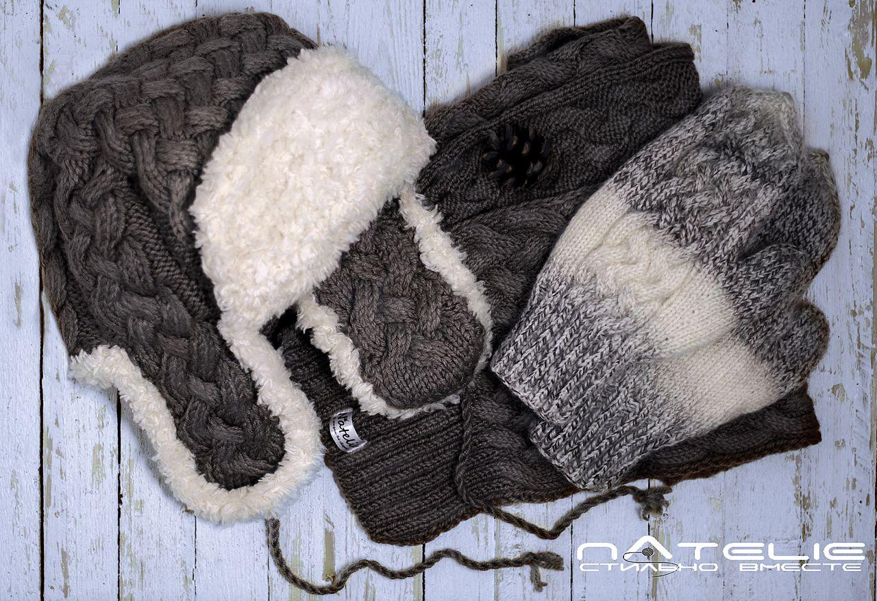 мужской длинныйшарф вязанаяшапка мужскаяшапка ушанка варежки шарф