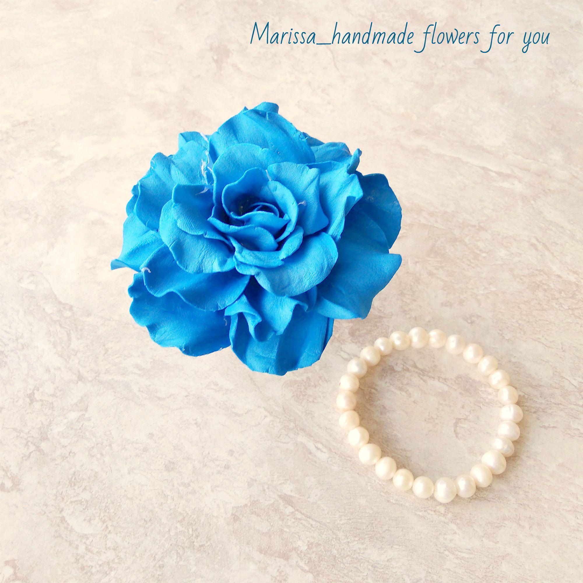 фоамирана роза ручной работы синяя