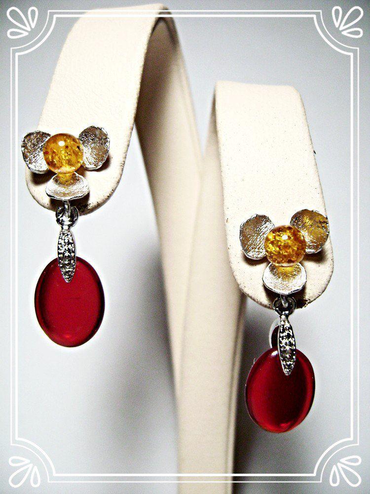 купить серьги натуральный красный жёлтый янтарь