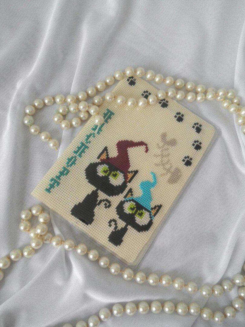 паспорт обложка вышивка коты