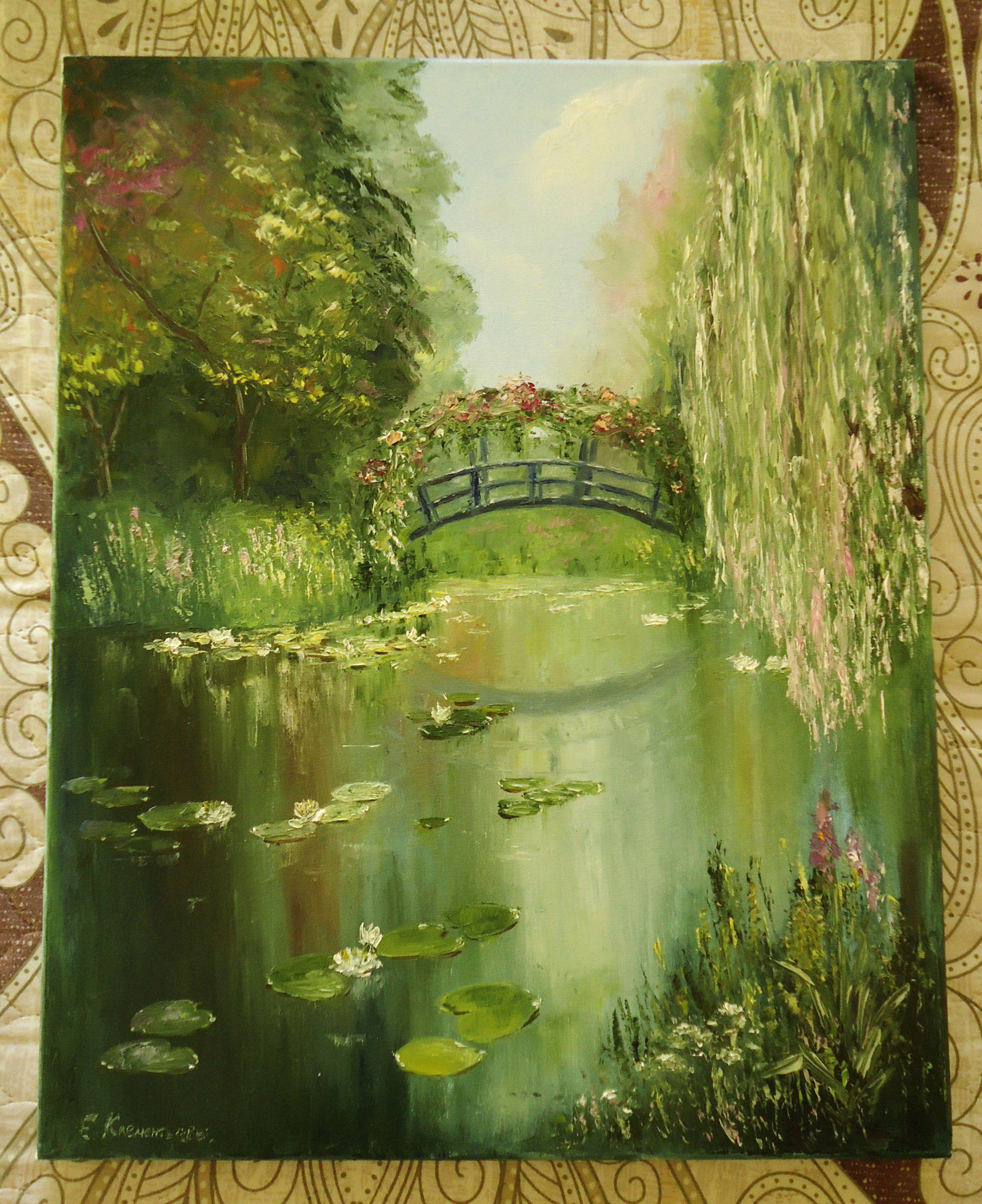 масло пейзаж живописьмаслом пруд холст природа картина подарок