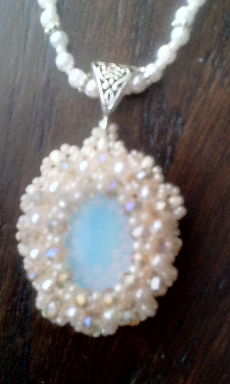 ручнаяработа серьги кулон бисер украшение красивое лунный бижутерия камень
