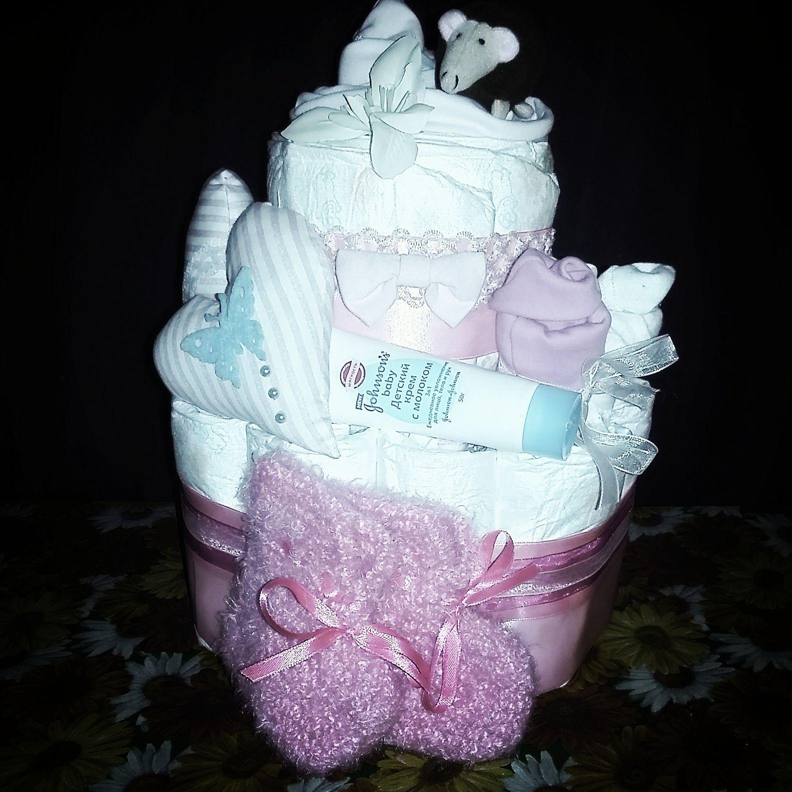 торт из на девочки рождение подгузников