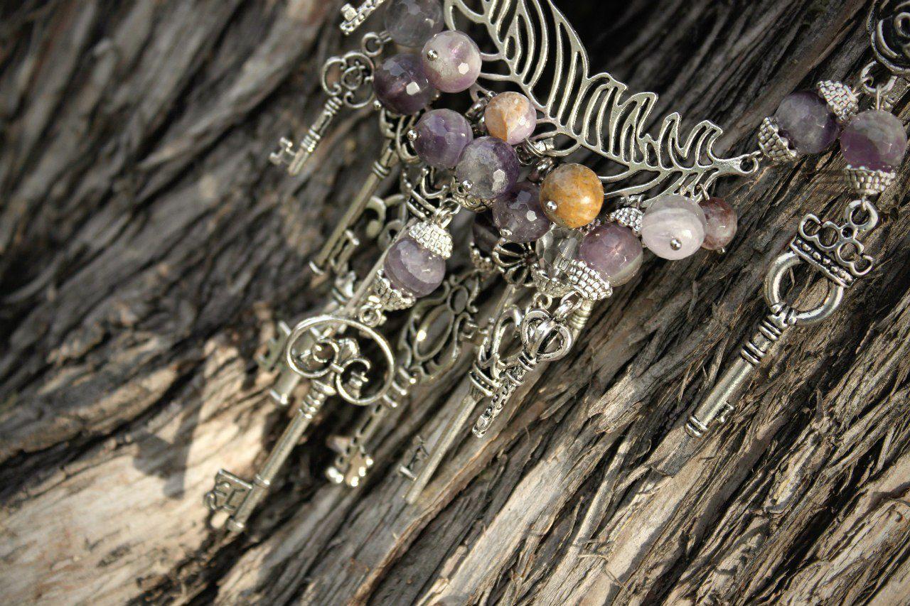 красота handmade аметист ожерелье твойстиль ключи ledies длядевушек ручнаяработа дляженщин подарок