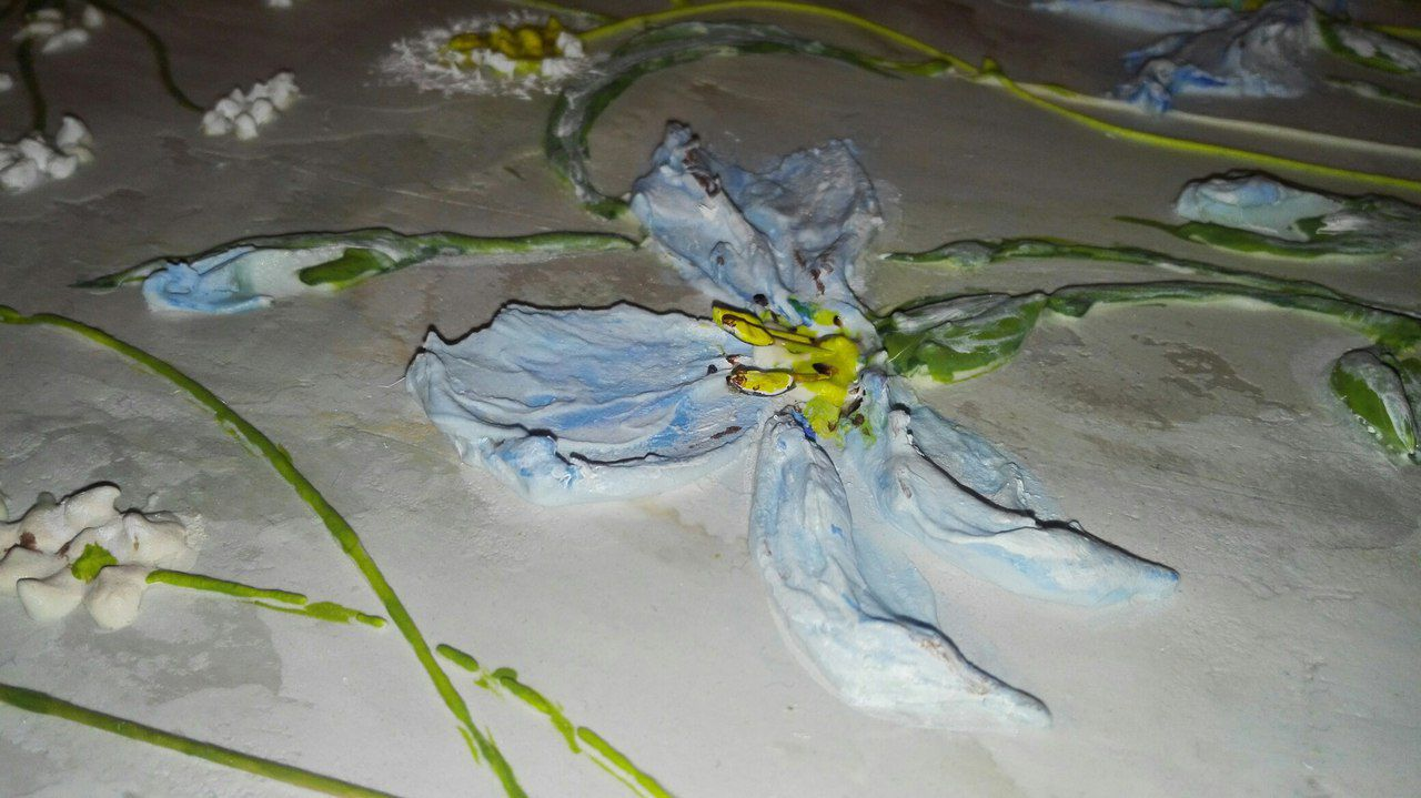 объемная нежная панно картину работа интерьерное авторская мотив голубой купить растительный цветовая гамма в картина подарок