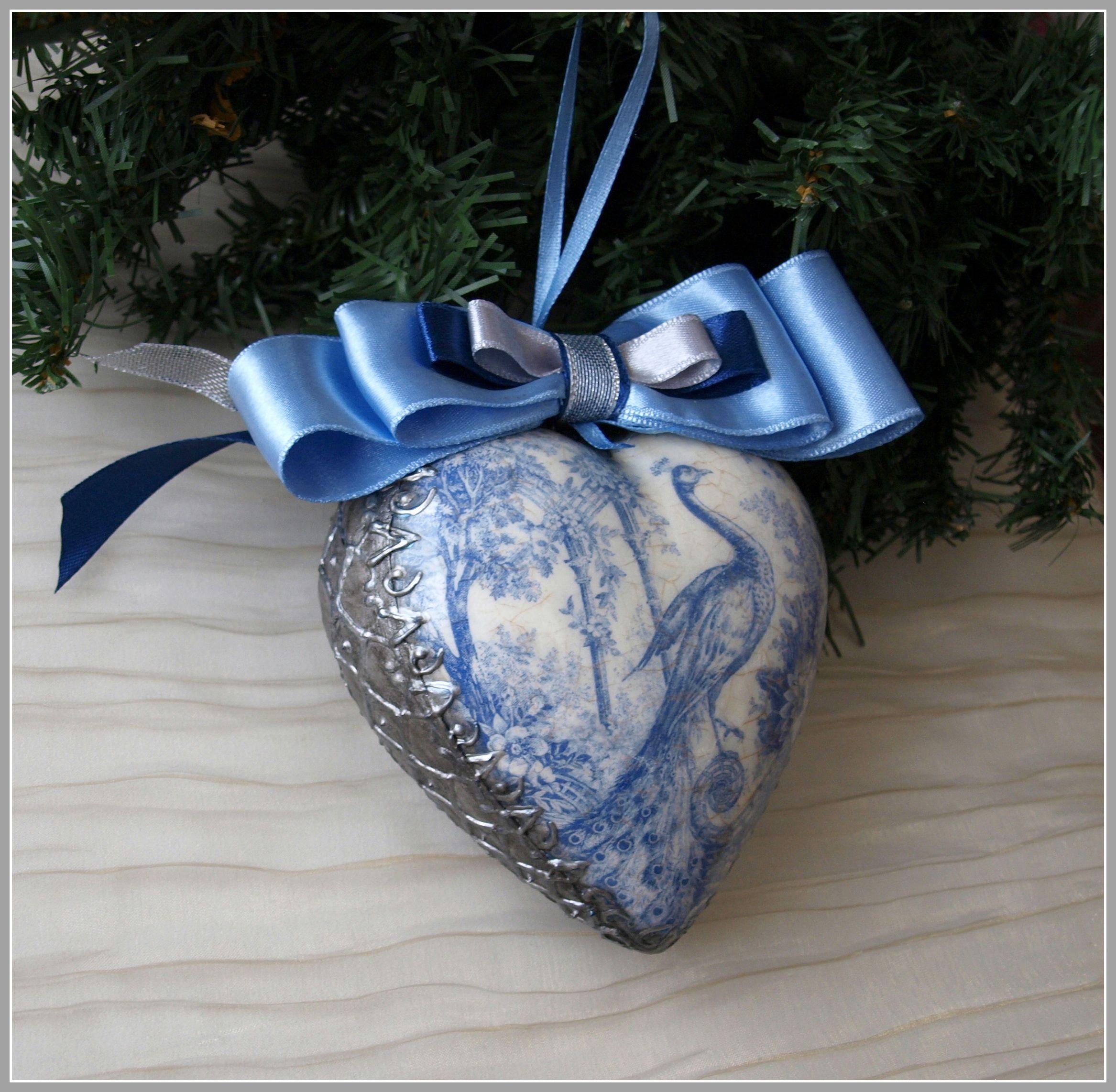 серебряный 14февраля синий игрушка любовь сердце рождество павлин керамика керамическаяплитка бант длявлюбленных новогоднееукрашение интерьерноеукрашение елочноеукрашение белый елочная рождественский любимой