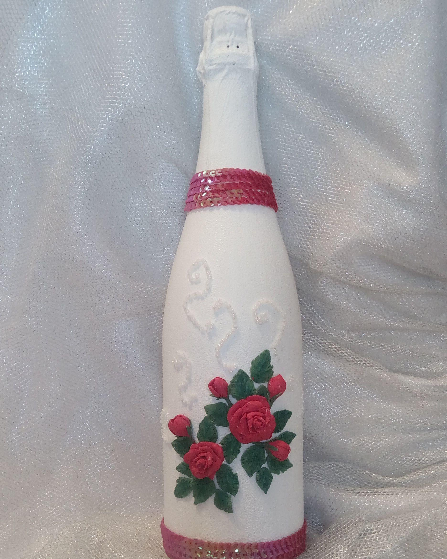 свадьба полимернаяглина бутылкашампанского розы красота праздник