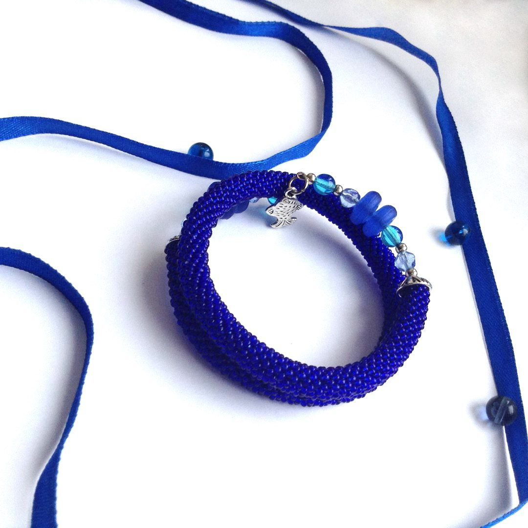 украшения бисер браслет handmade синий бижутерия