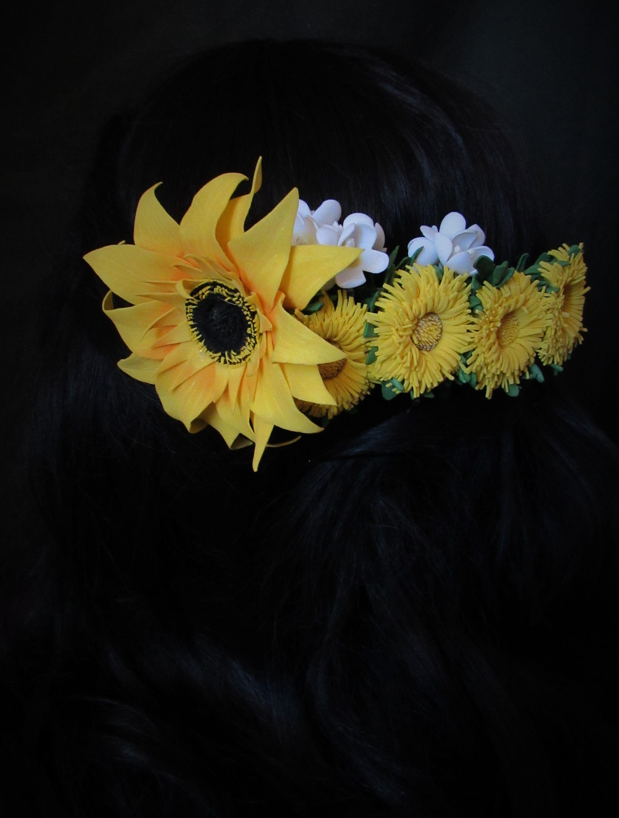 фоамирана подсолнухи одуванчики гребень из цветы