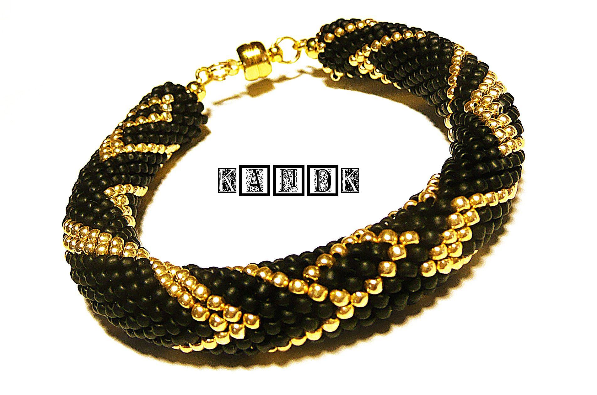 матовый kandk тохо золотой браслет черный подарок