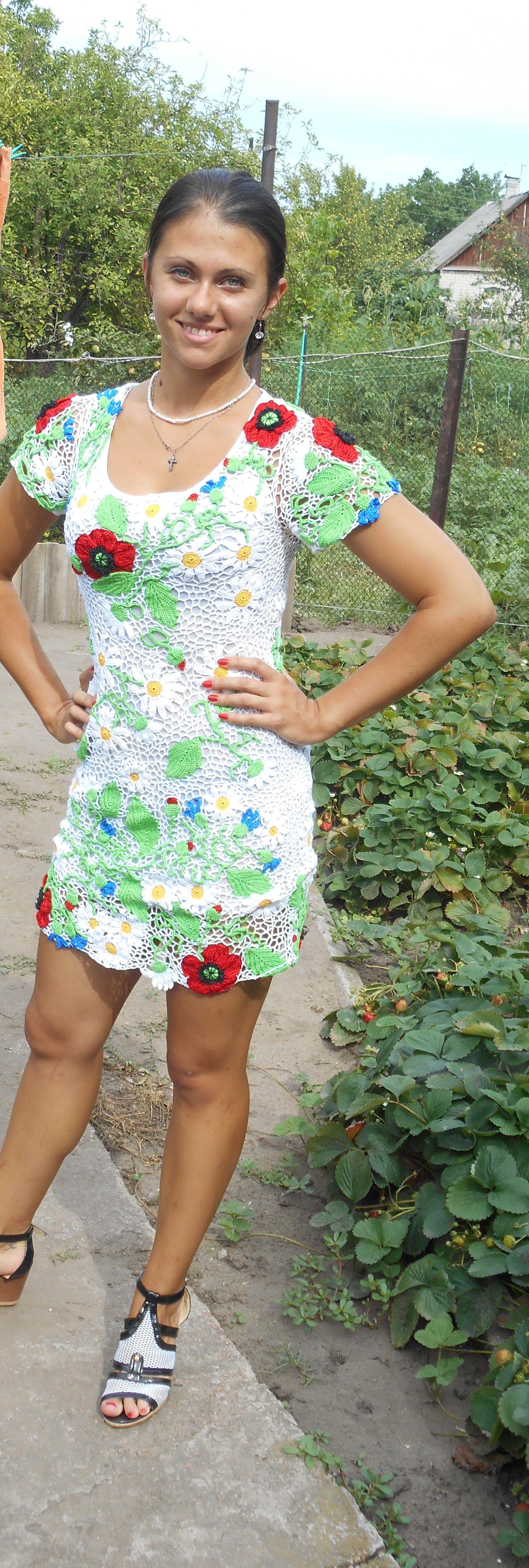 девушек крючком женское платье вязаное летнее для ирландское заказ женщин дляженщин кружево