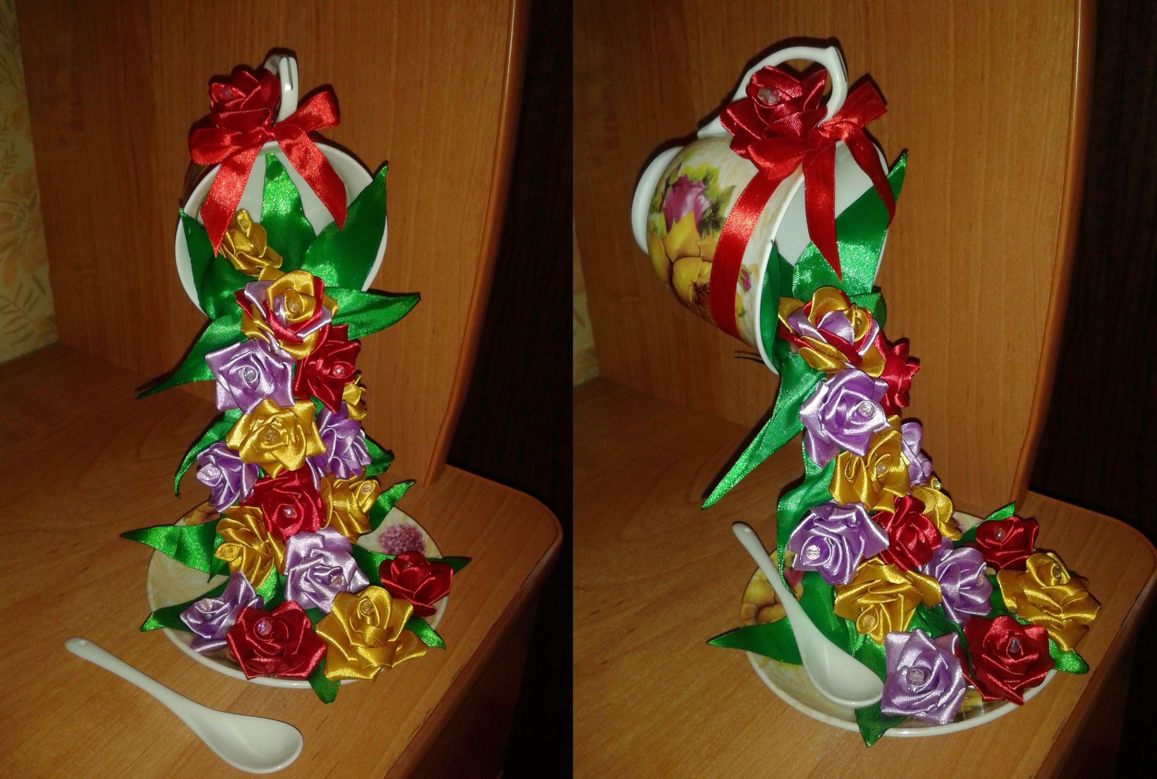 композиция подарок красивая атлас необычная чашка розы цветы презент чудесная летающая