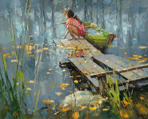 маслом картина рыбалка еискусство современно рисунки