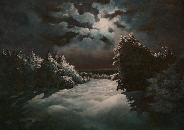 холст ночь купить картину луна картина масло живопись