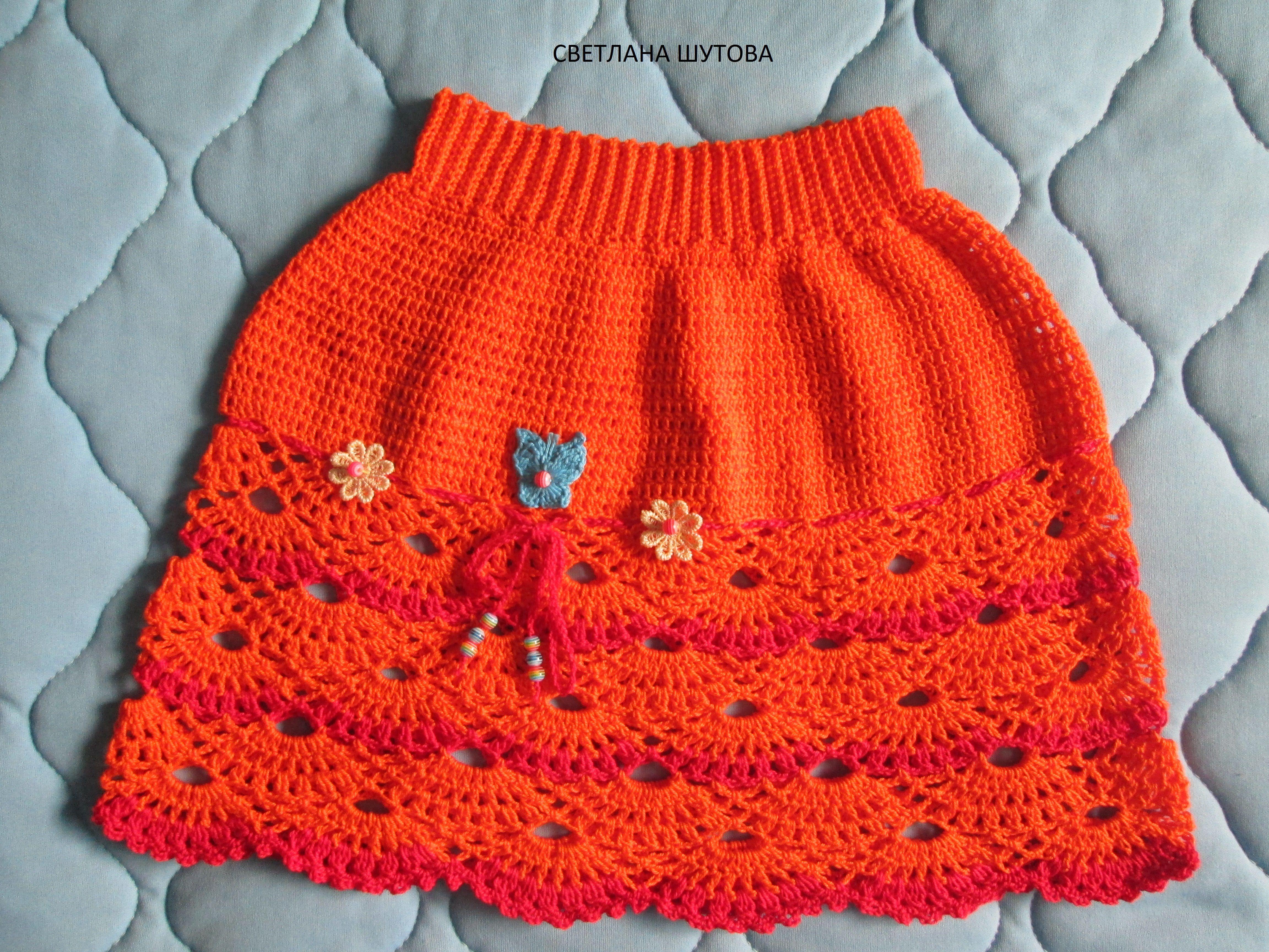 блузка топик одежда вязание комплект хлопок юбка девочке летний ручнаяработа