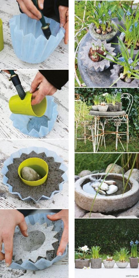 руками из поделки декор цветов бетона для цветочные горшки сада своими