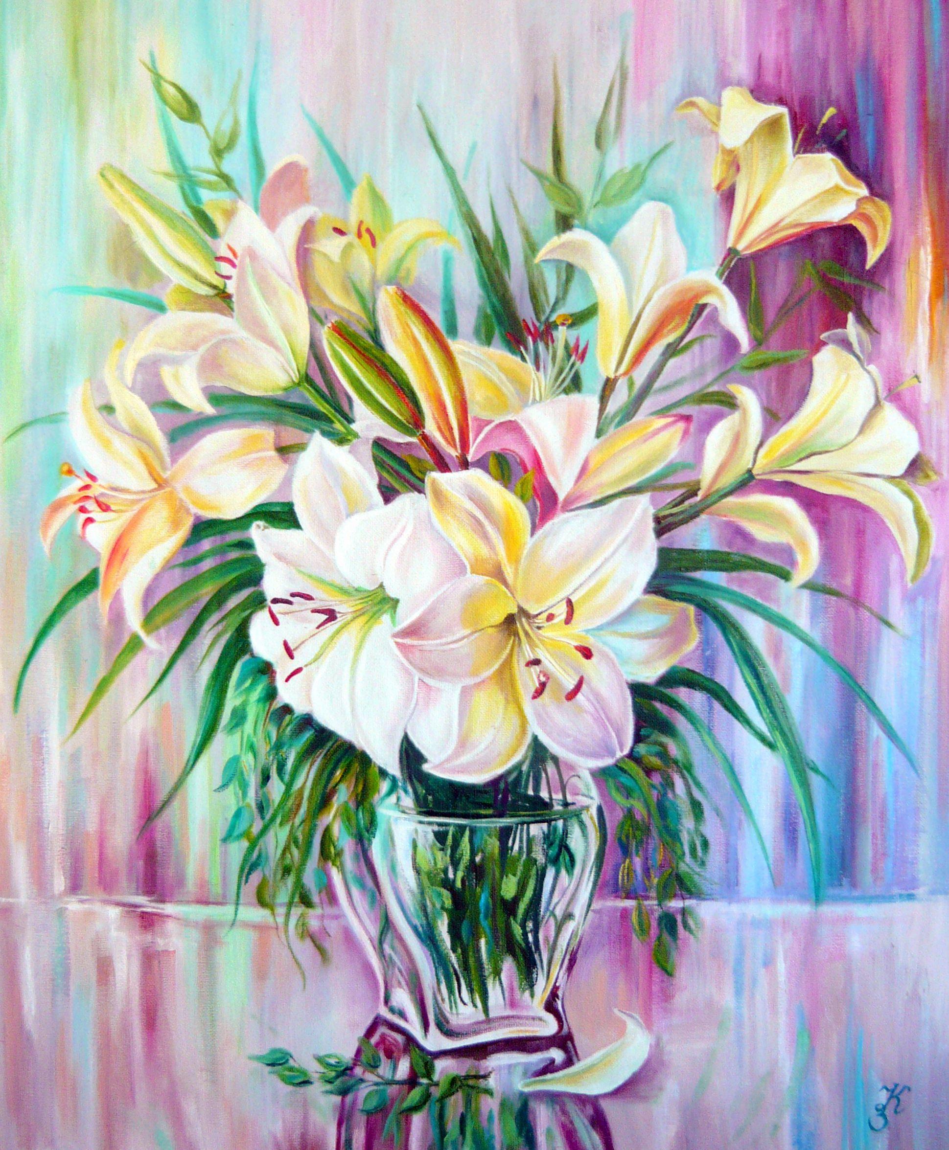 цветы лилии живопись картина подарок