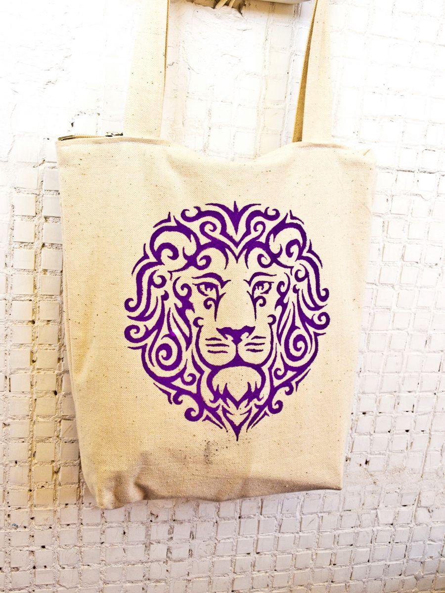 ручнаяроспись фуксия фиолетовый сумка белый молочный лев
